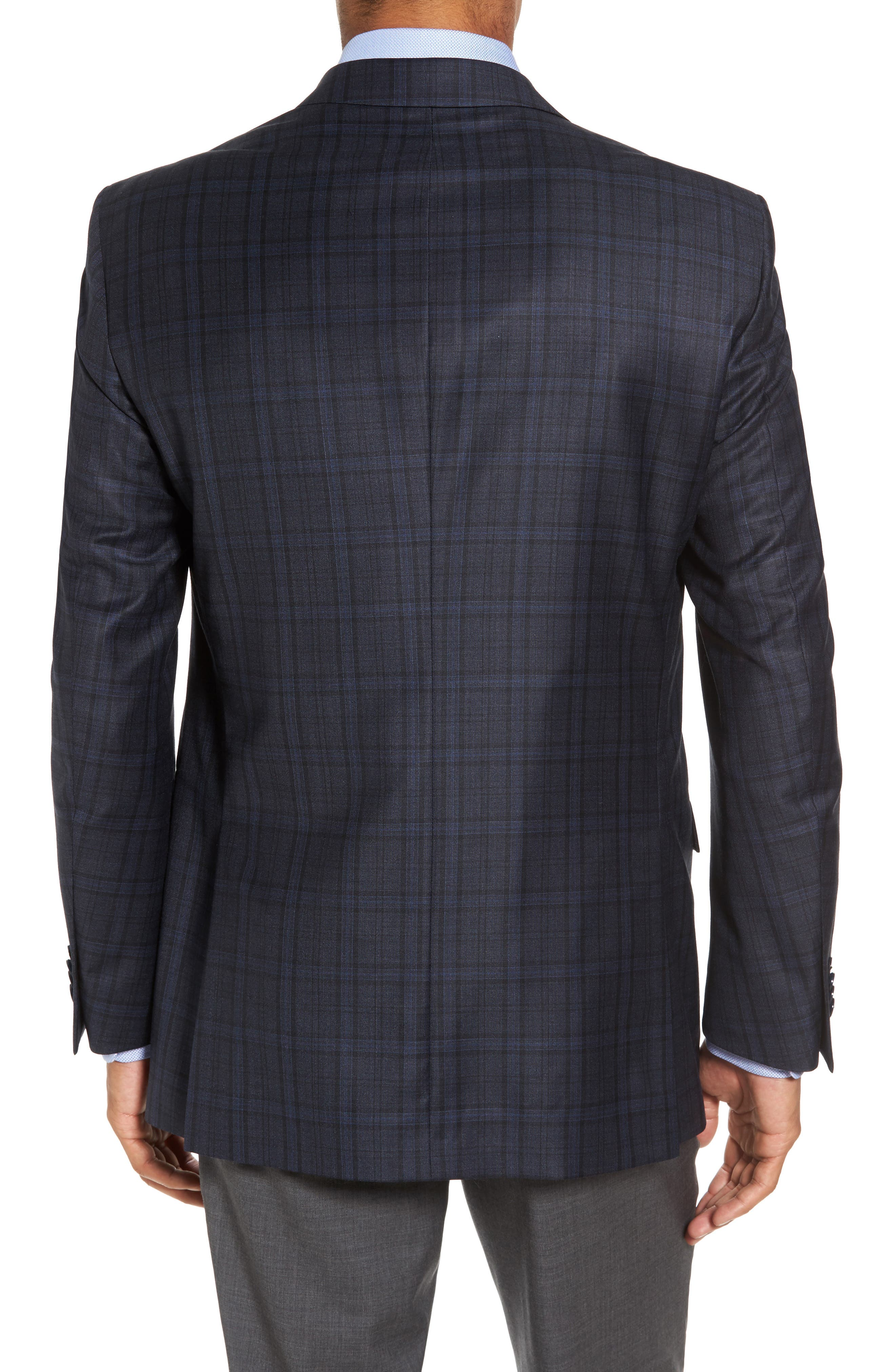 Classic Fit Plaid Wool Sport Coat,                             Alternate thumbnail 2, color,