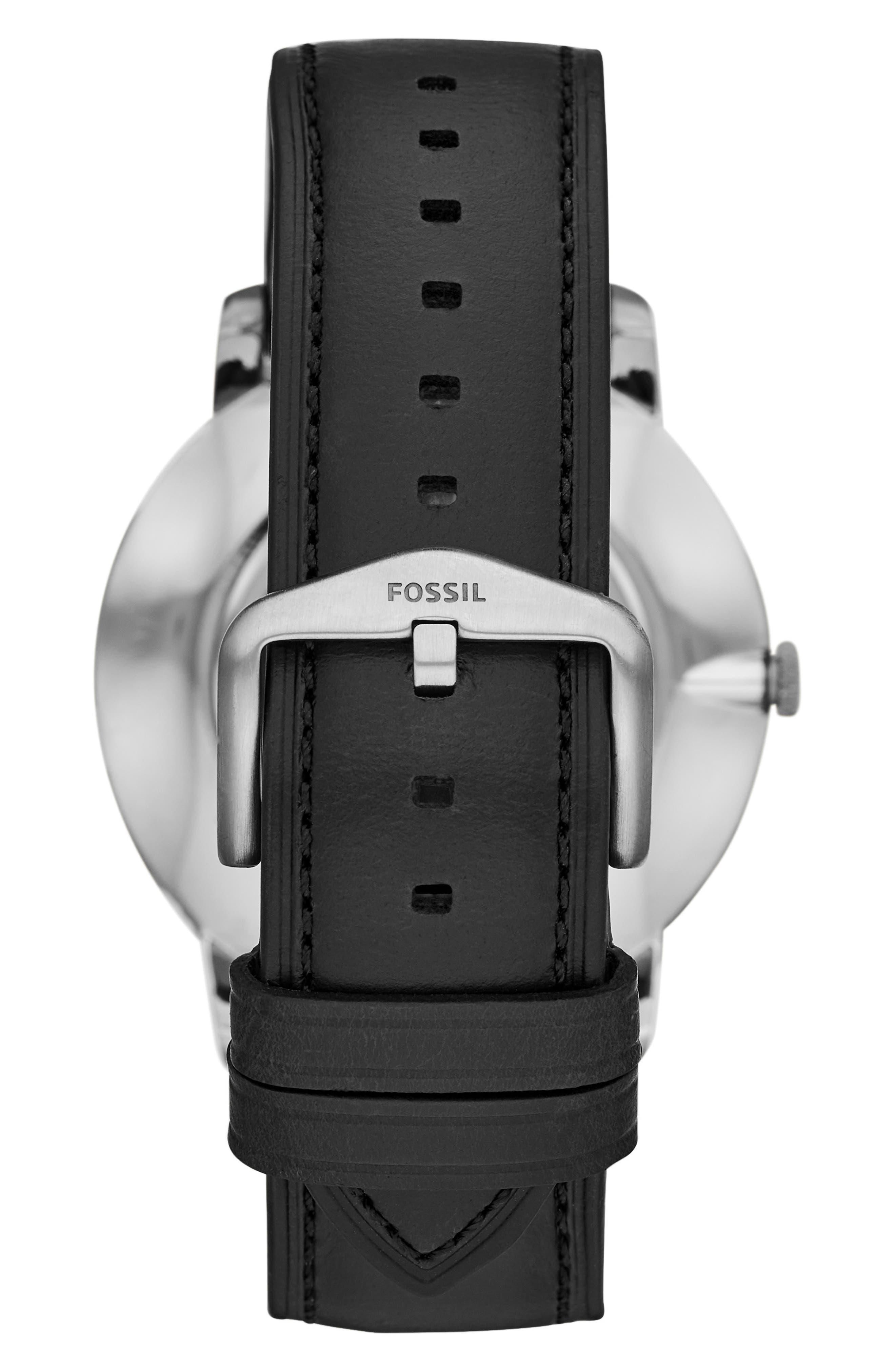 Minimalist 3H Carbon Leather Strap Watch, 44mm,                             Alternate thumbnail 2, color,                             BLACK/ SILVER