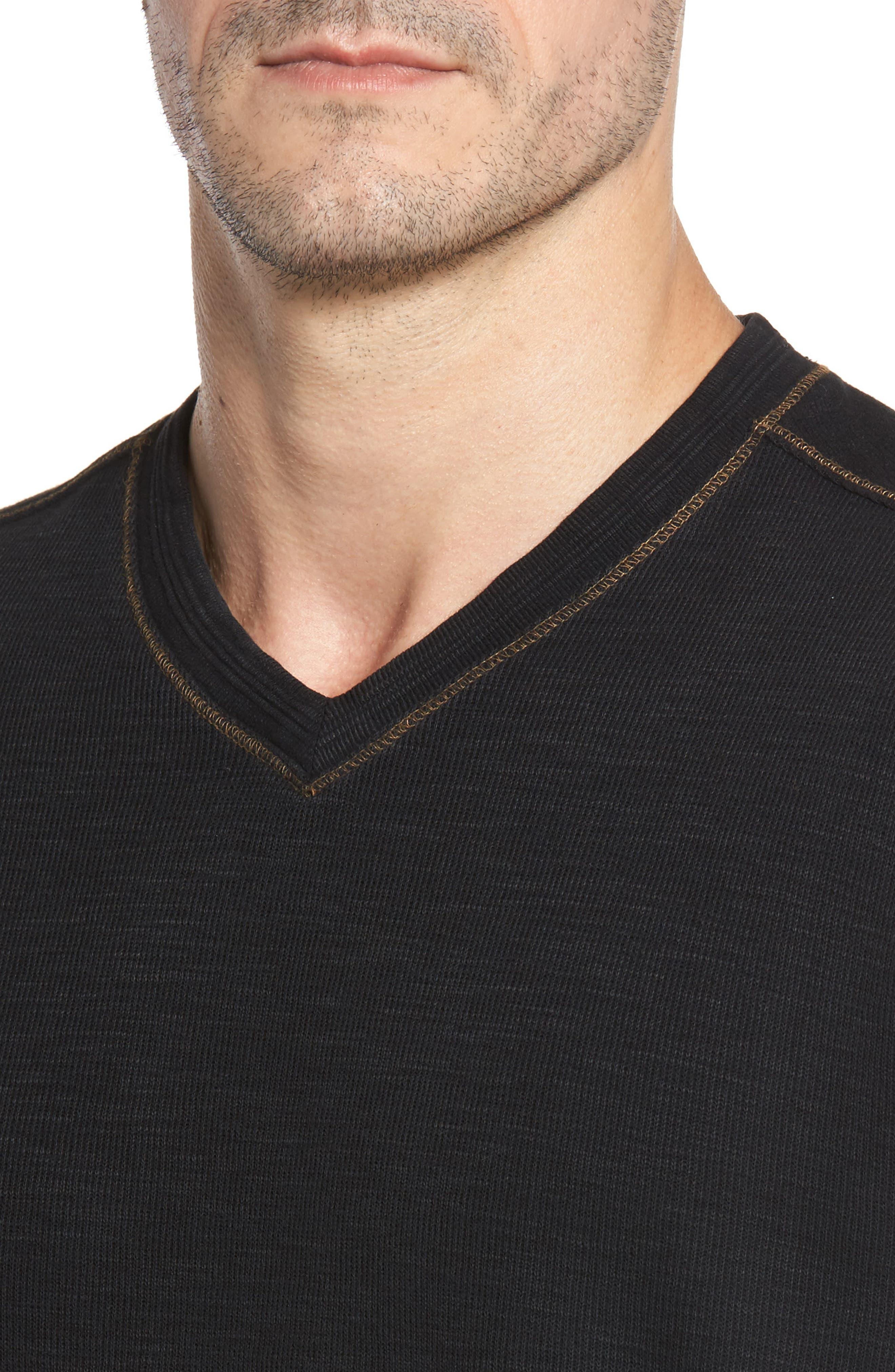 Anthony Slubbed Long Sleeve V-Neck T-Shirt,                             Alternate thumbnail 4, color,                             001