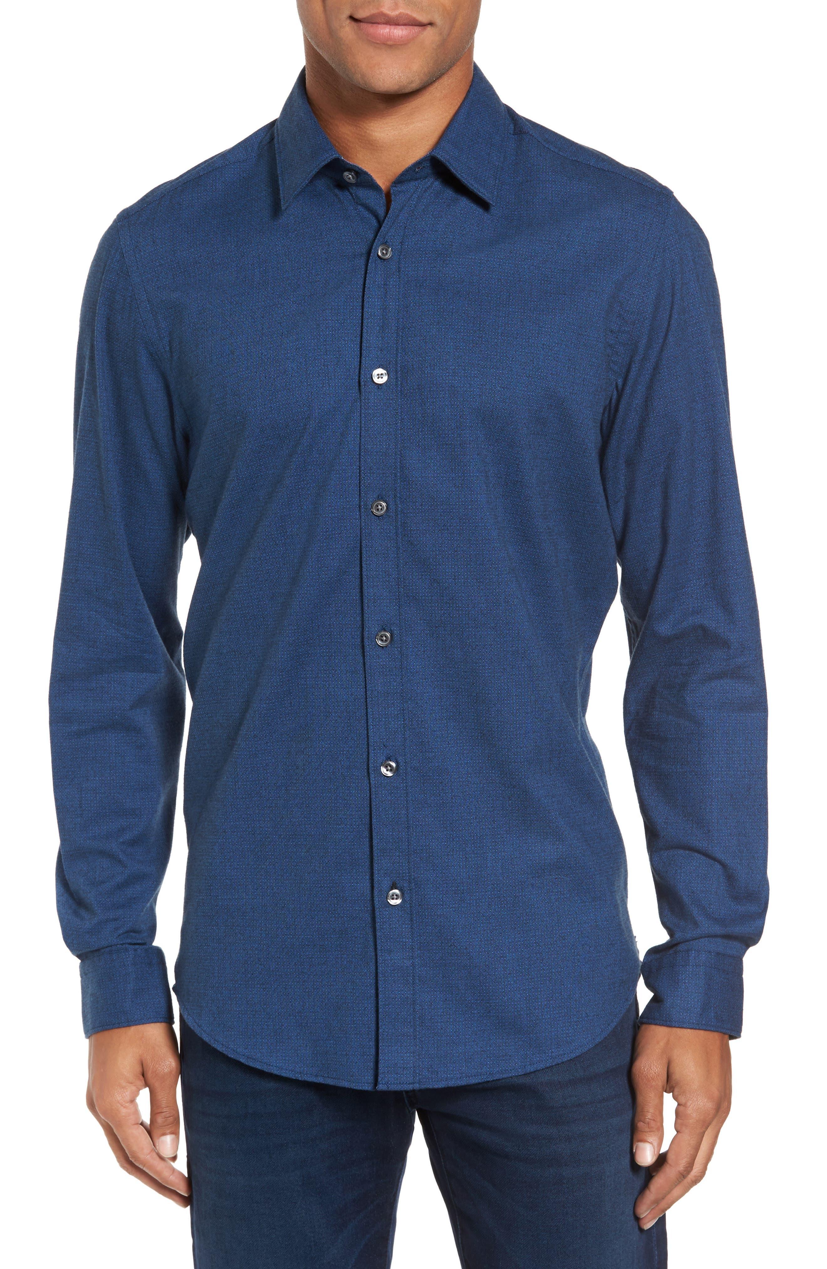 Lukas Regular Fit Microprint Flannel Sport Shirt,                             Main thumbnail 1, color,