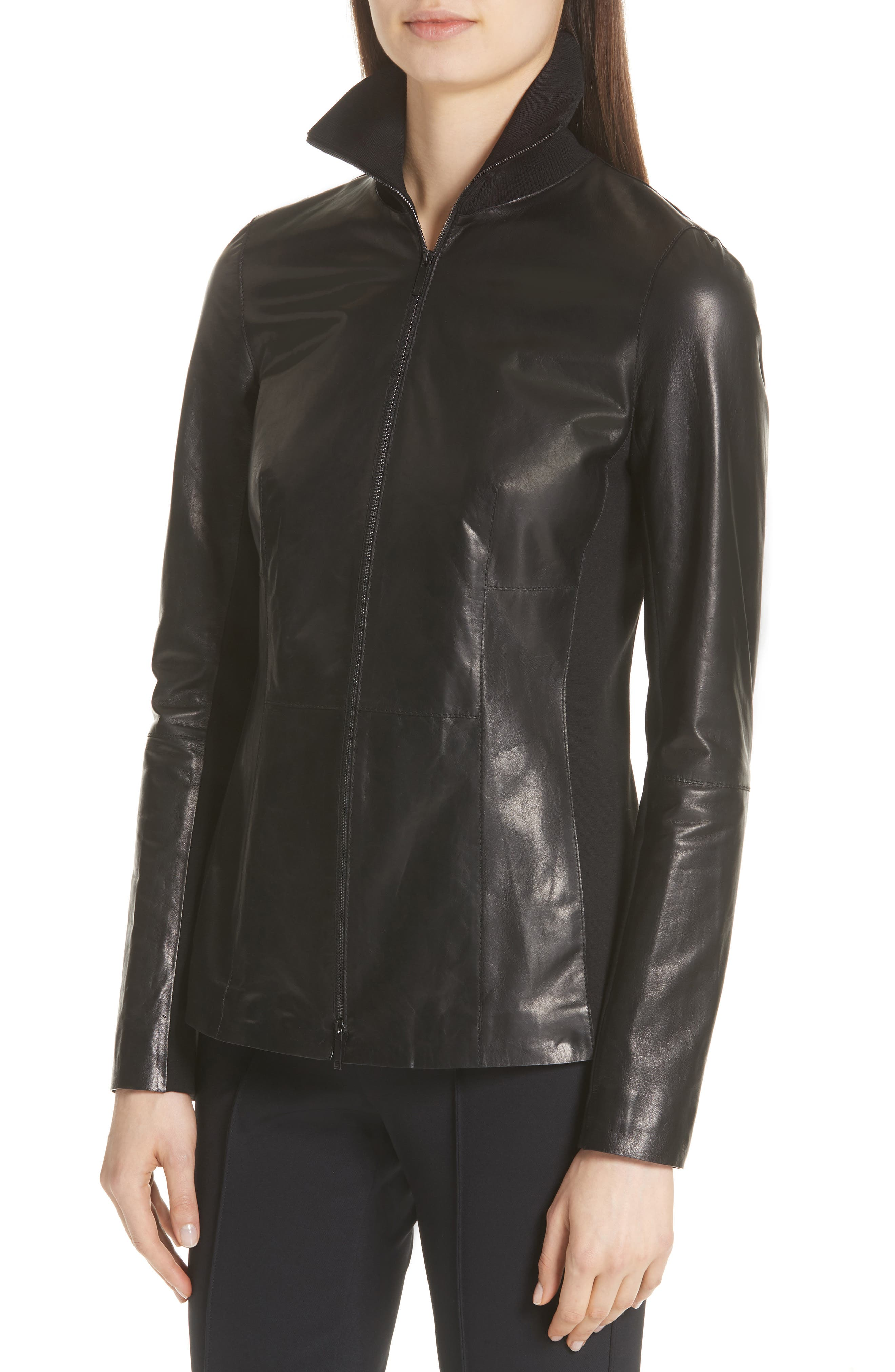 Ponte Panel Leather Jacket,                             Alternate thumbnail 4, color,                             001