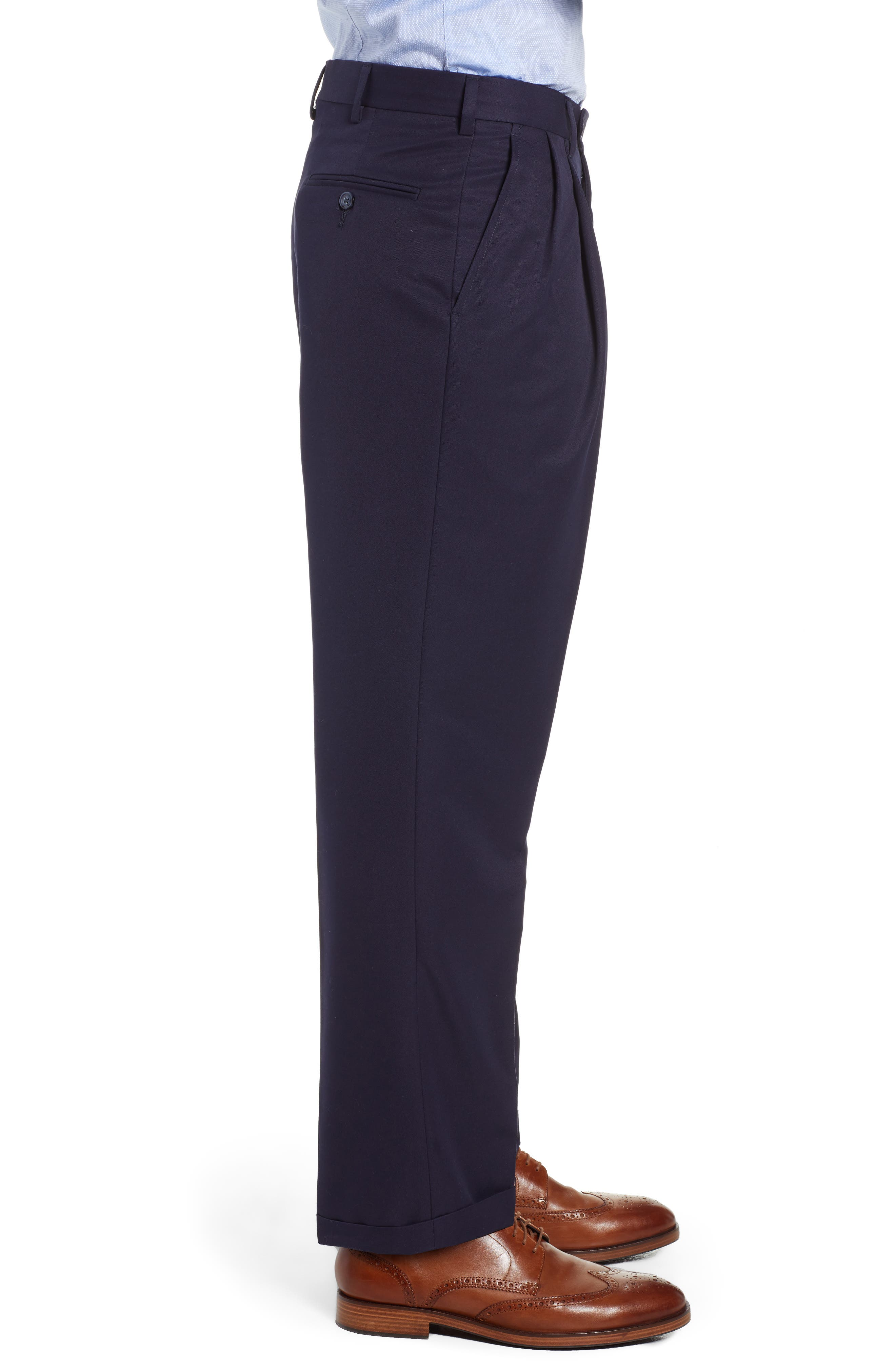 Classic Fit Pleated Microfiber Performance Trousers,                             Alternate thumbnail 3, color,                             NAVY