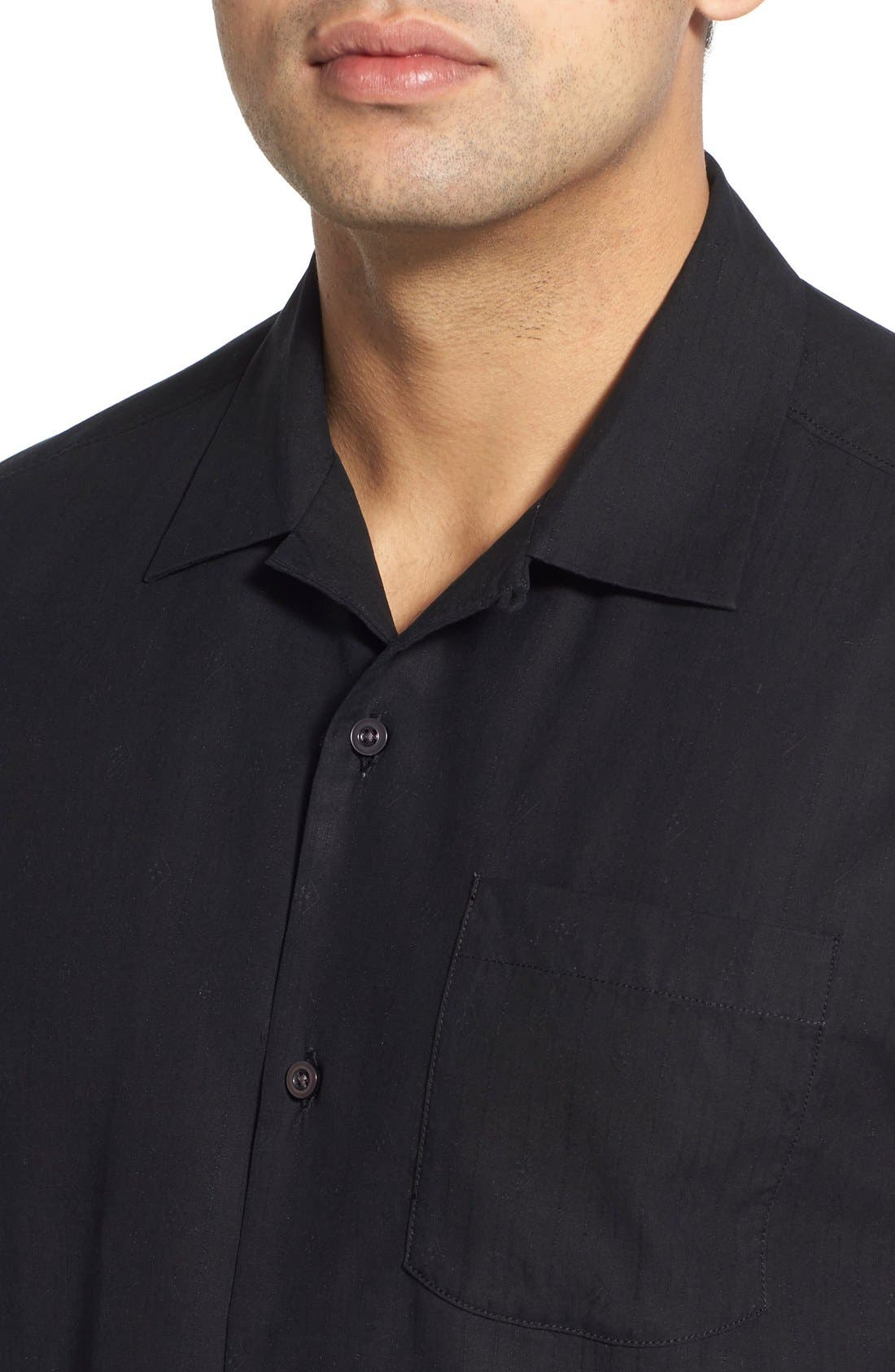 Java Dobby Original Fit Silk Camp Shirt,                             Alternate thumbnail 4, color,                             001