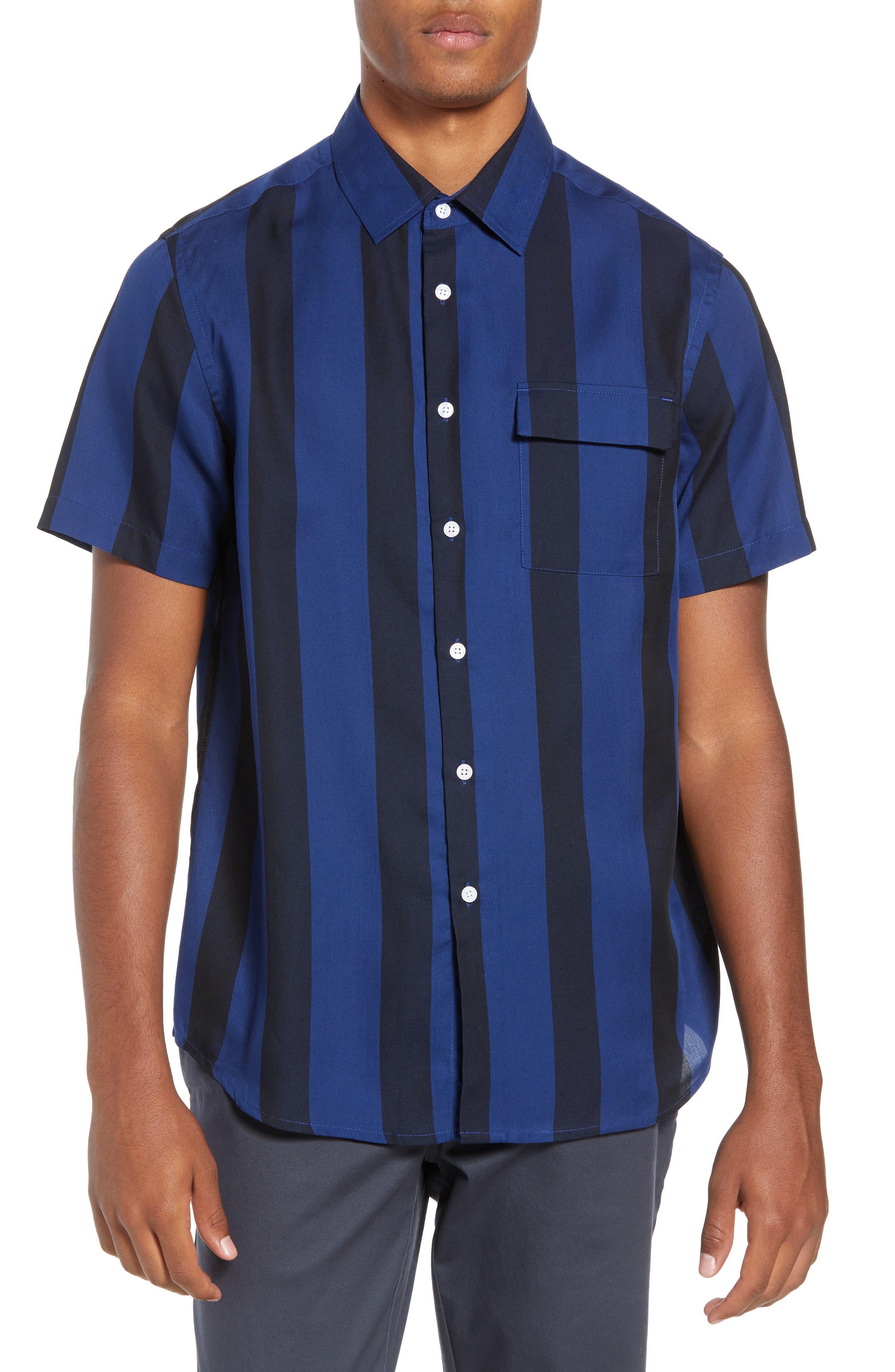 SATURDAYS NYC,                             Saturdays Nico Broad Stripe Woven Shirt,                             Main thumbnail 1, color,                             001