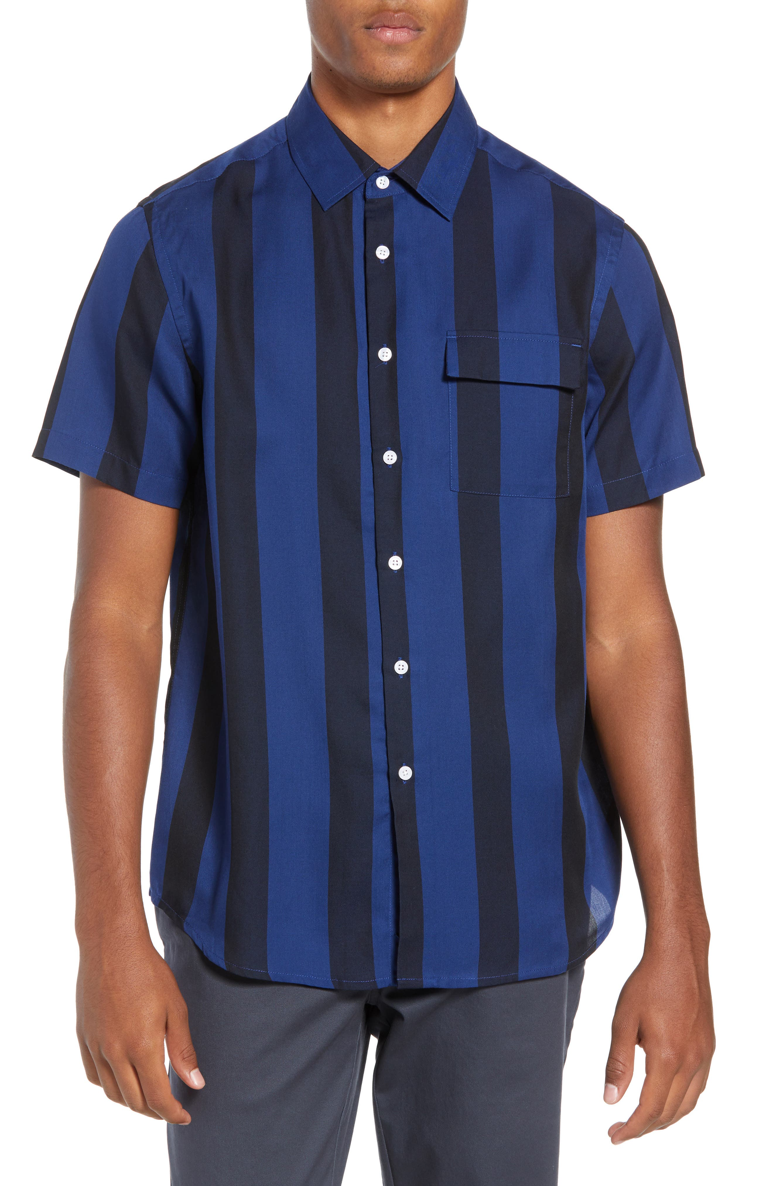 SATURDAYS NYC Saturdays Nico Broad Stripe Woven Shirt, Main, color, 001