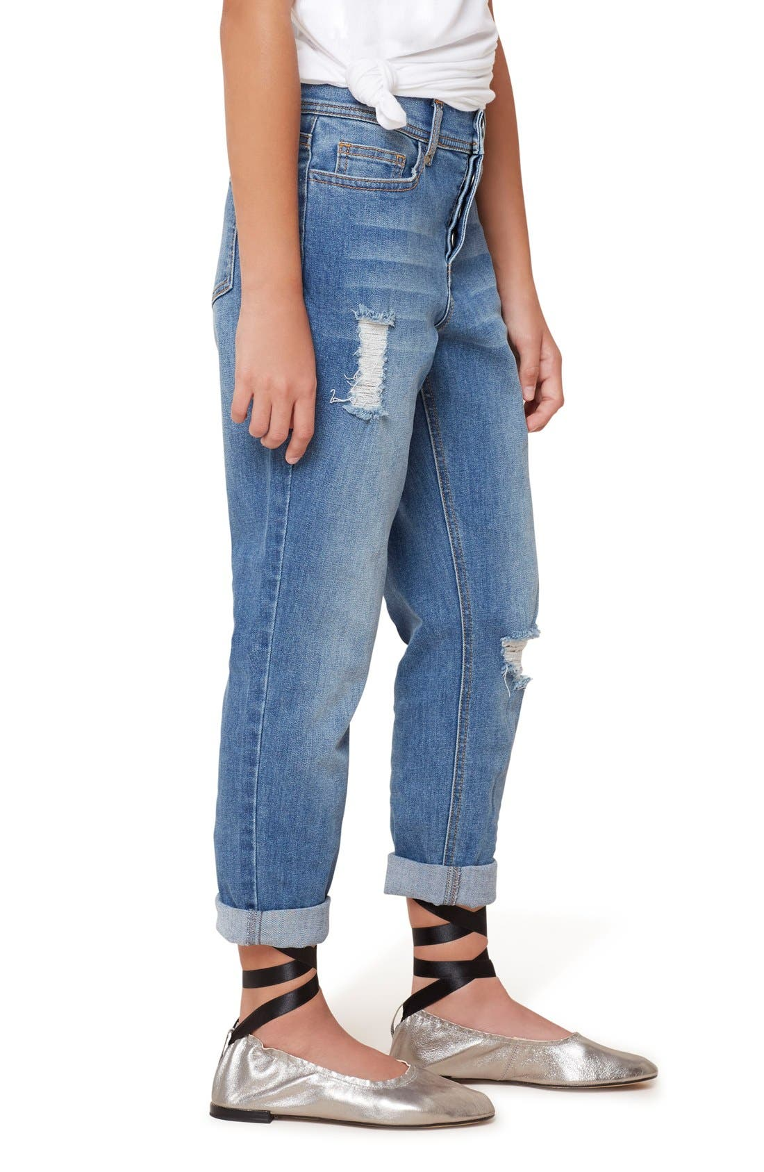 Destroyed Girlfriend Jeans,                             Alternate thumbnail 5, color,                             409