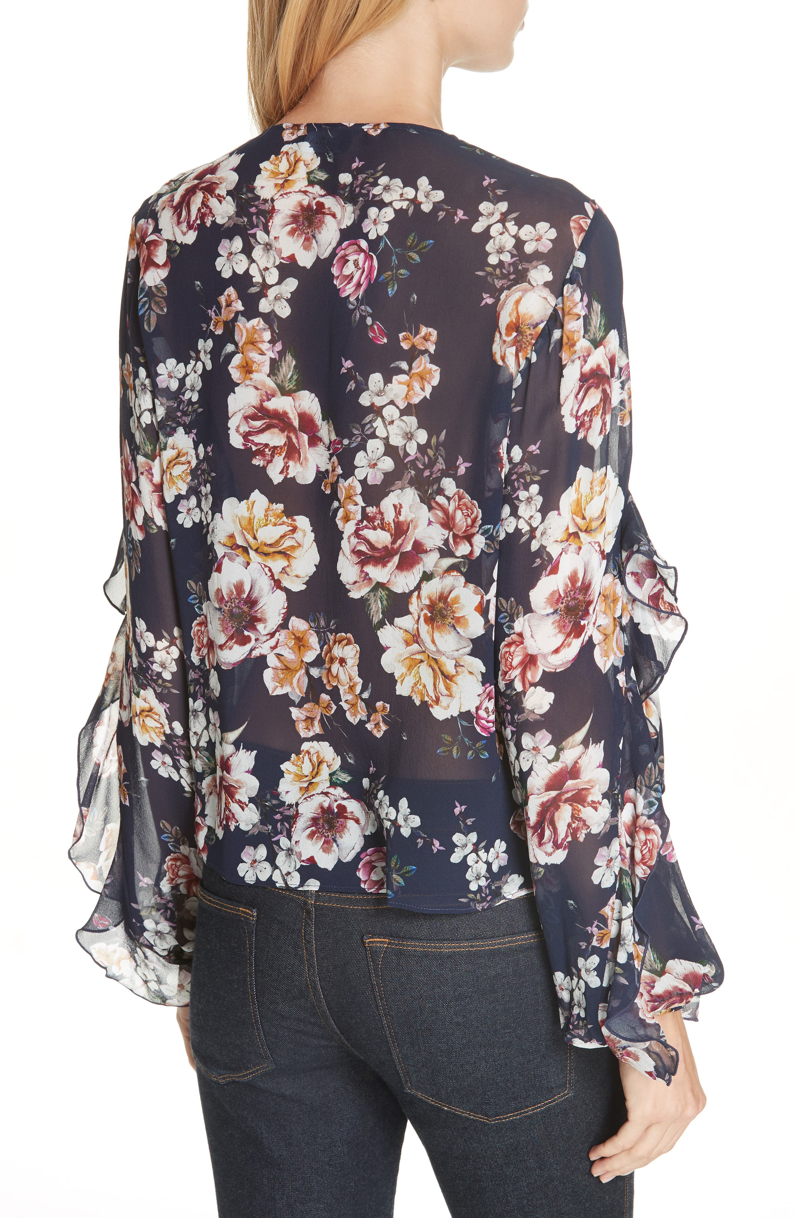 Garden Rose Silk Blouse,                             Alternate thumbnail 2, color,                             NAVY