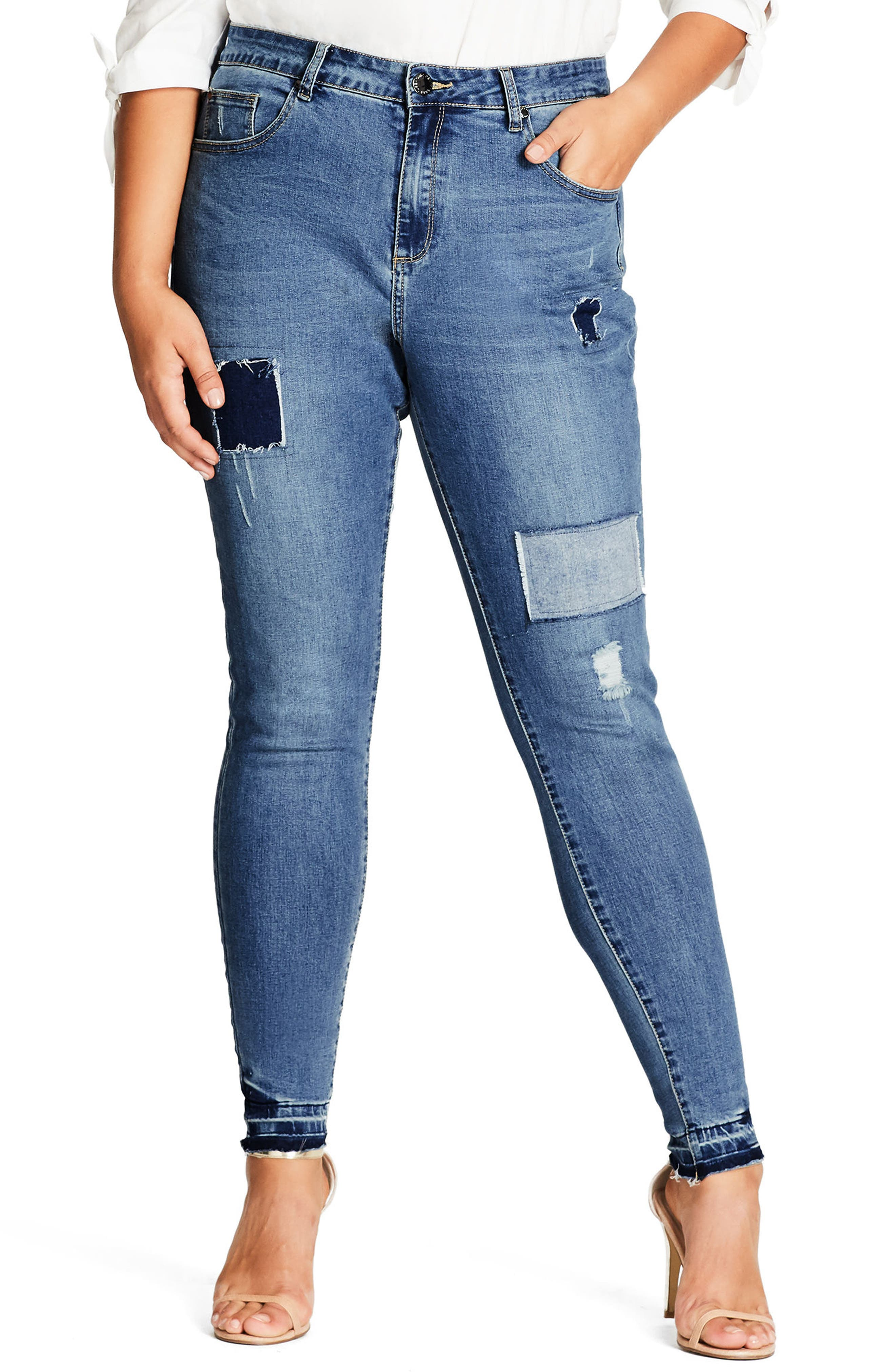 Patched Released Hem Skinny Jeans,                         Main,                         color, 400