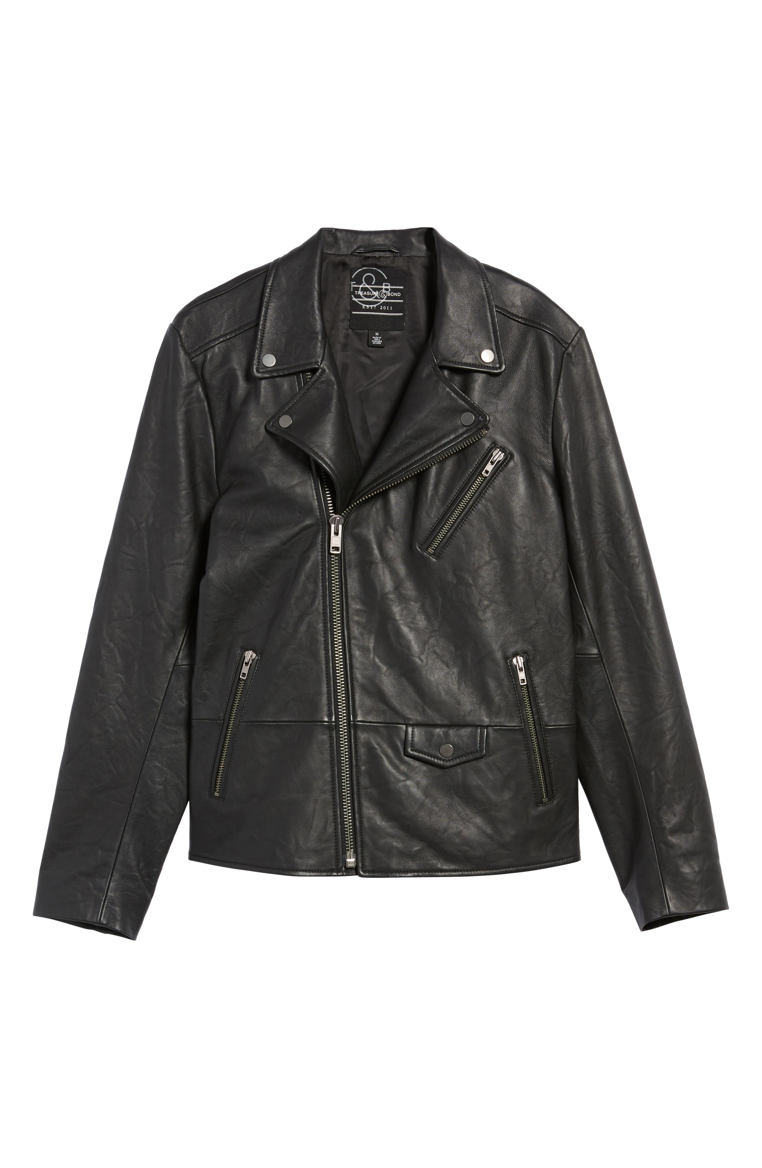Leather Biker Jacket,                             Alternate thumbnail 5, color,                             001
