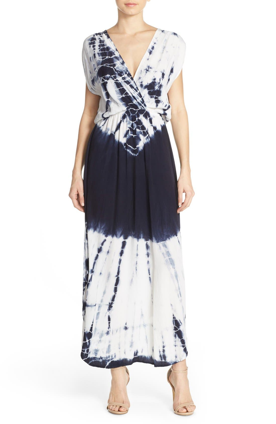 Tie Dye Crepe Maxi Dress,                             Main thumbnail 1, color,                             INDIGO