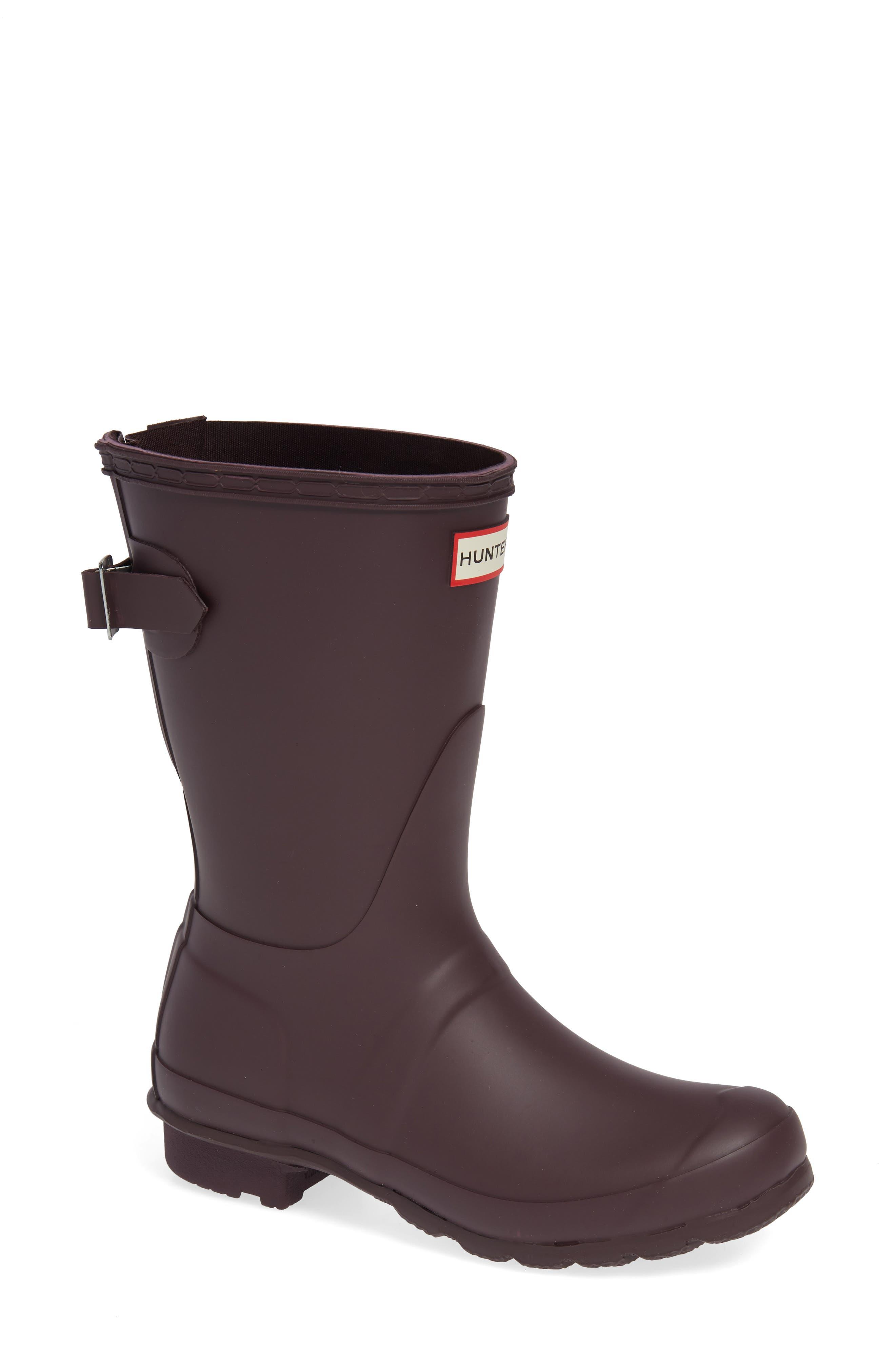 Original Short Back Adjustable Waterproof Rain Boot,                         Main,                         color, BLACK GRAPE
