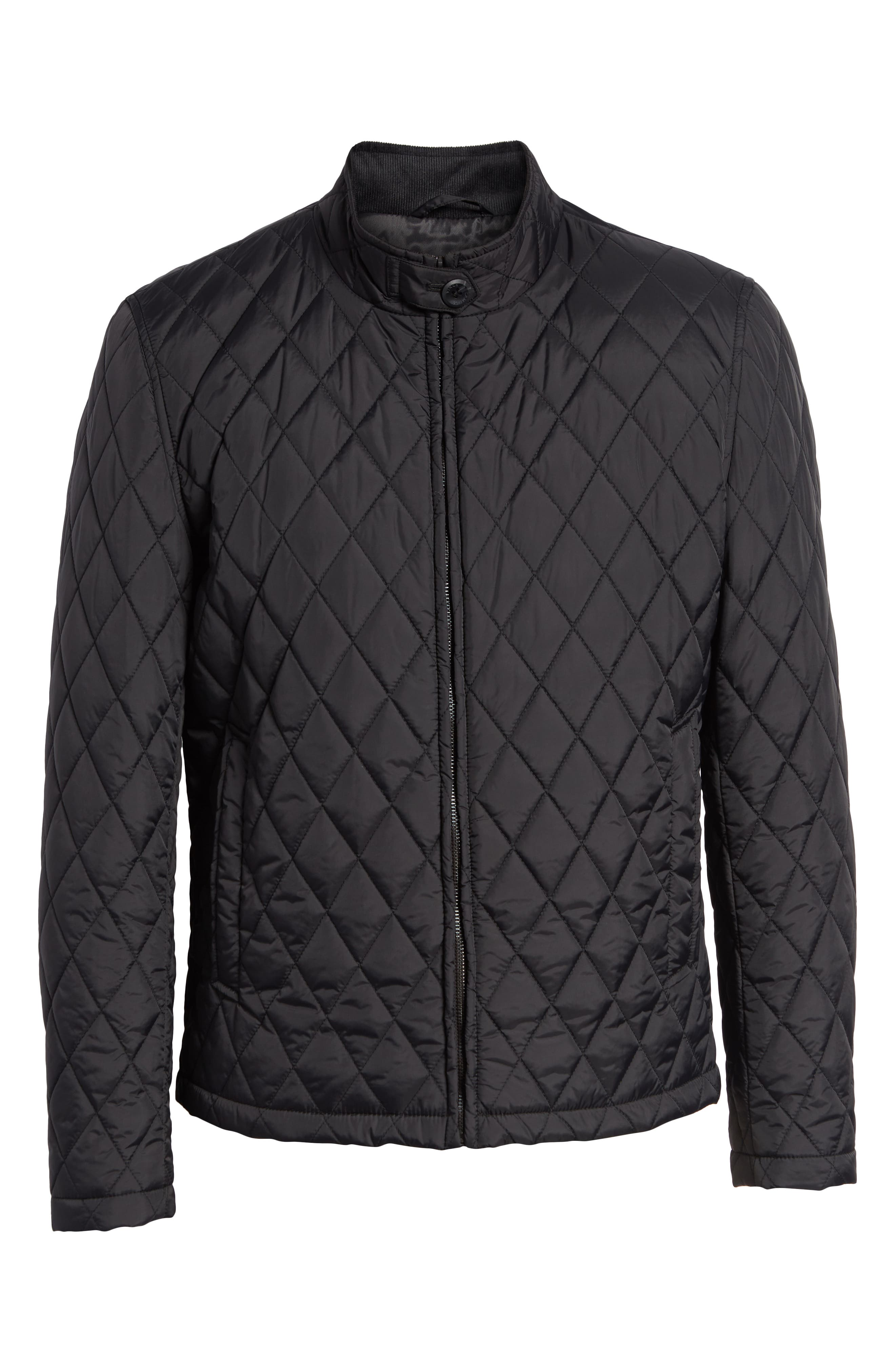Quilted Moto Jacket,                             Alternate thumbnail 6, color,                             BLACK