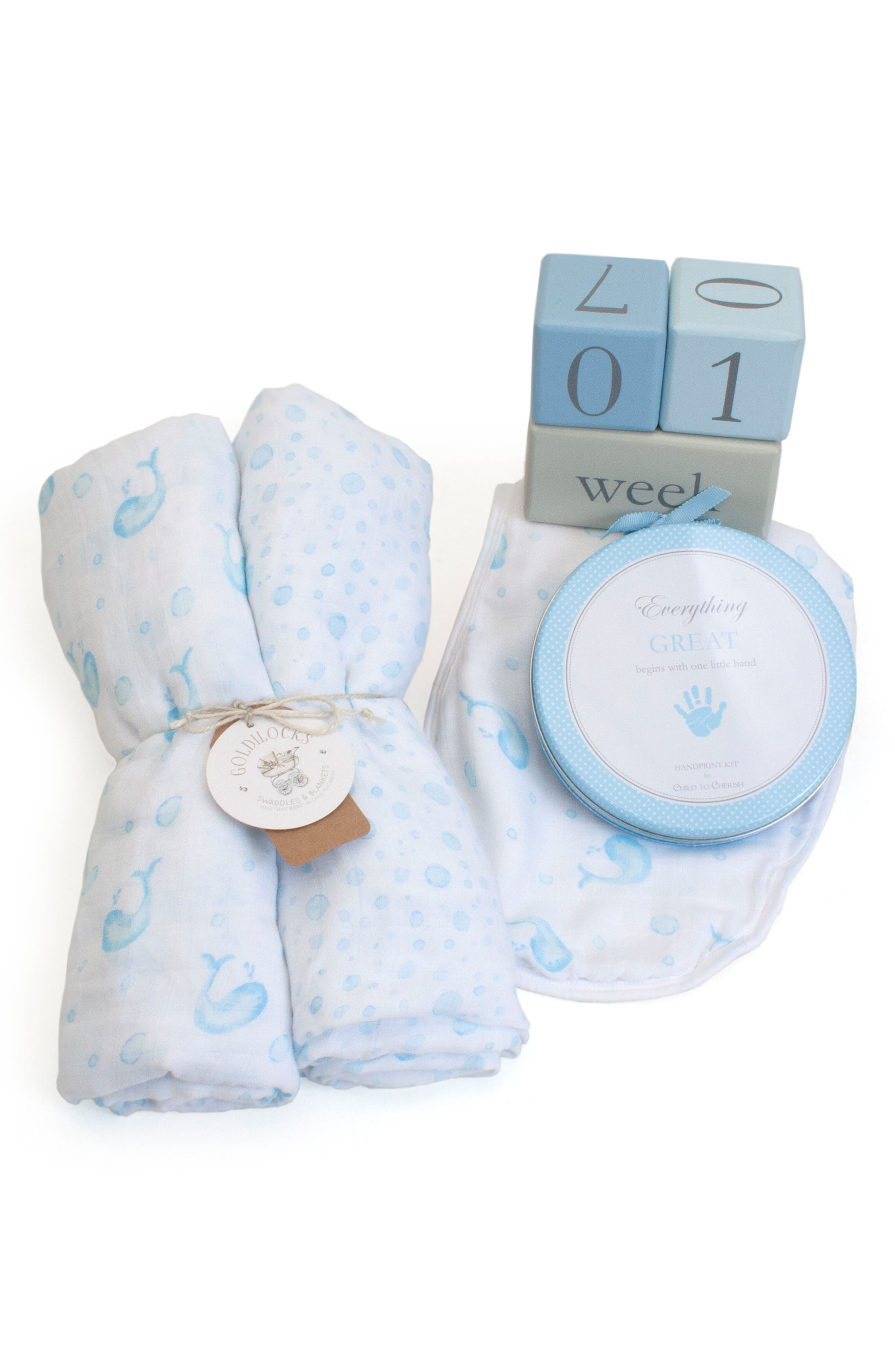 CHILD TO CHERISH Bubbles & Whales Goldilocks Swaddle, Handprint & Photo Block Gift Set, Main, color, 450