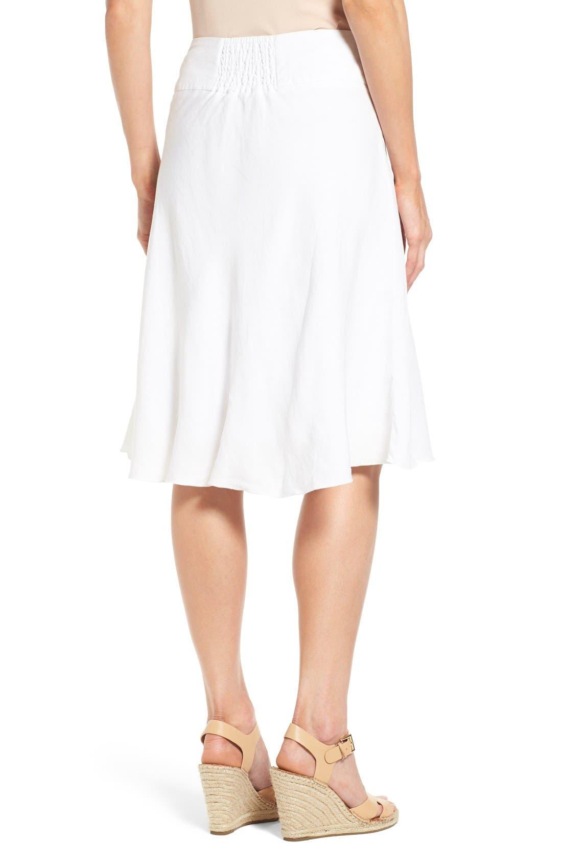 NIC+ZOE,                             Summer Fling Linen Blend Skirt,                             Alternate thumbnail 2, color,                             PAPER WHITE
