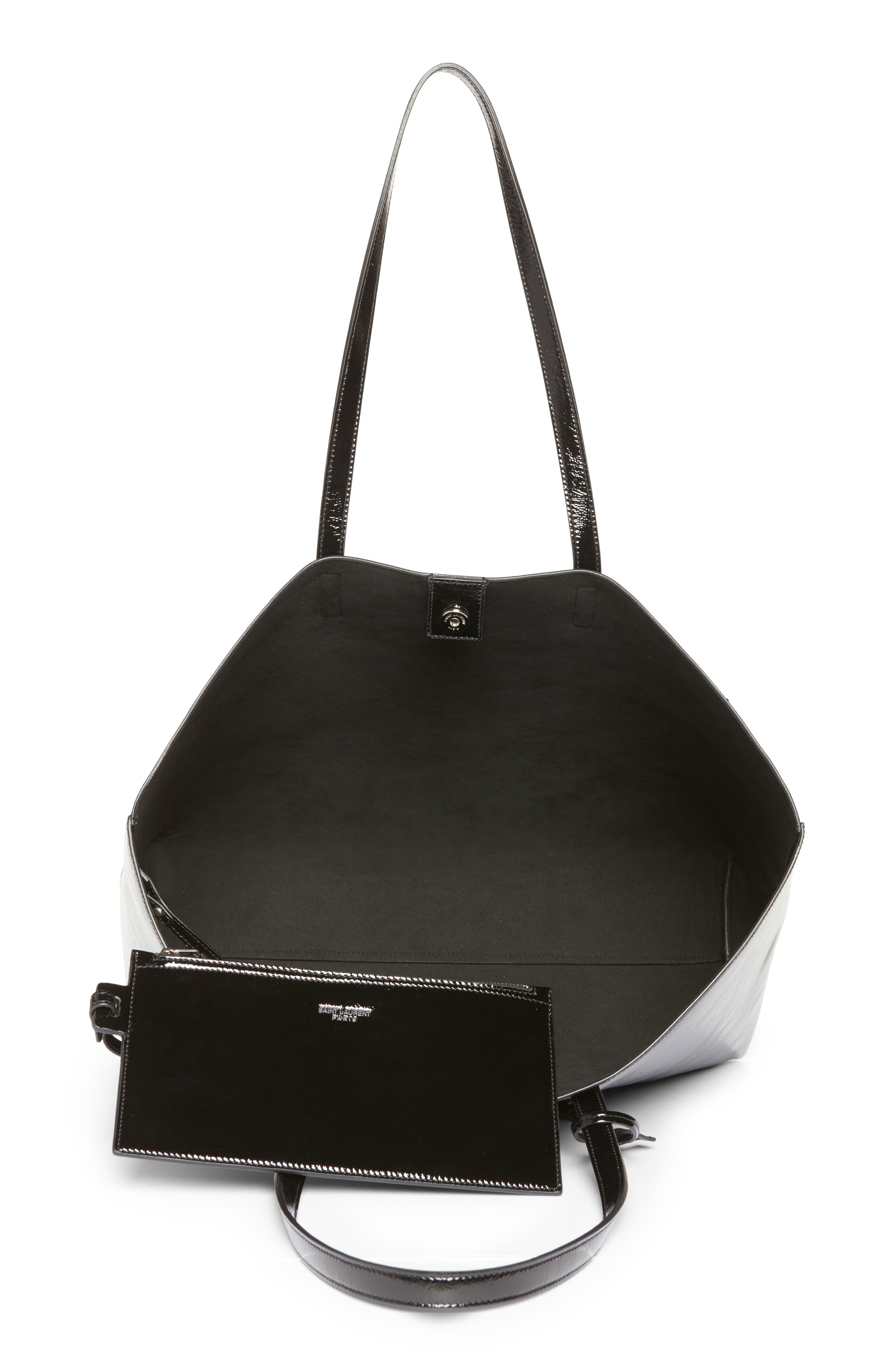 East/West Leather Tote,                             Alternate thumbnail 4, color,                             001