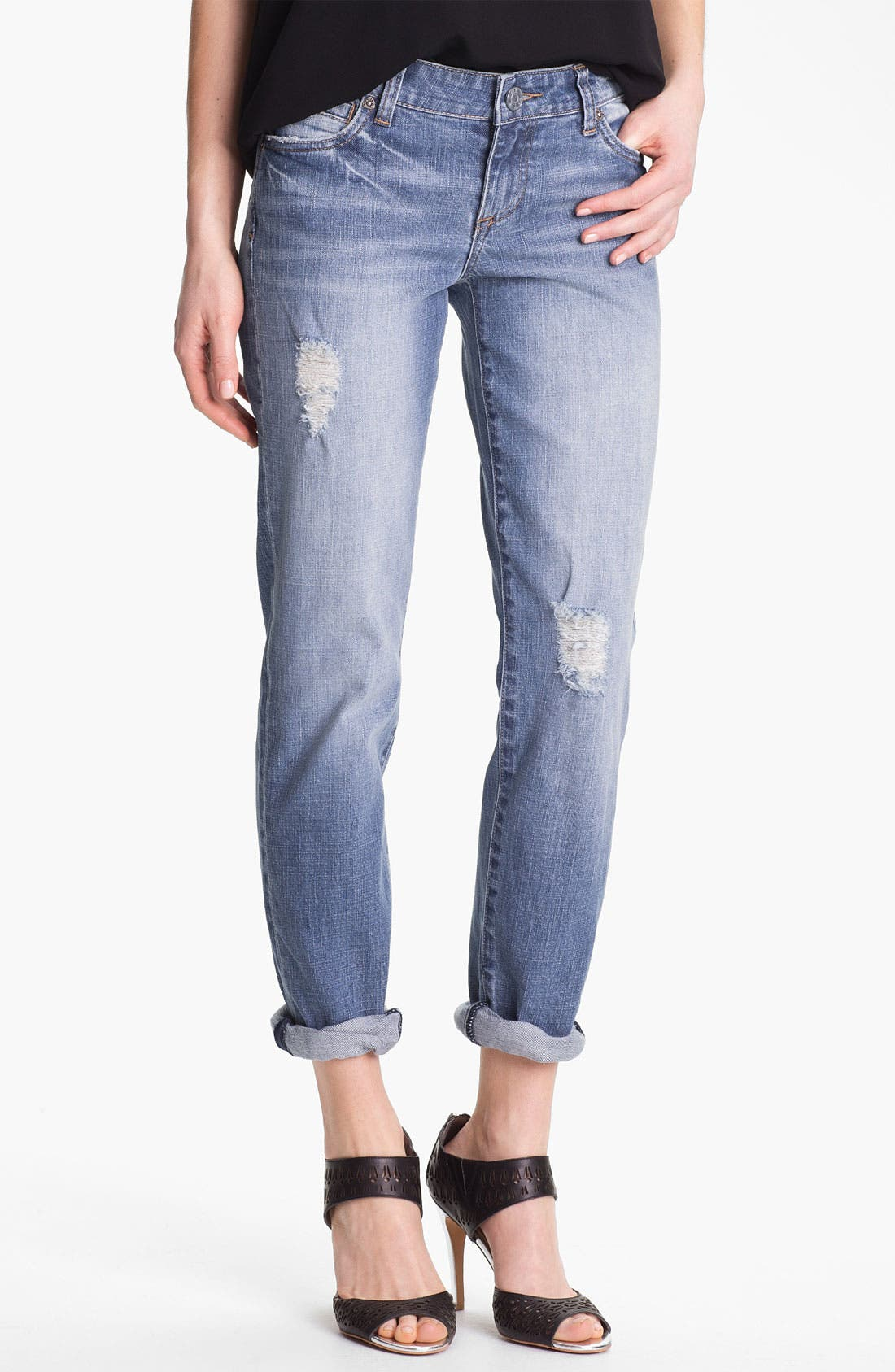 KUT FROM THE KLOTH,                             'Catherine' Distressed Slim Boyfriend Jeans,                             Main thumbnail 1, color,                             400
