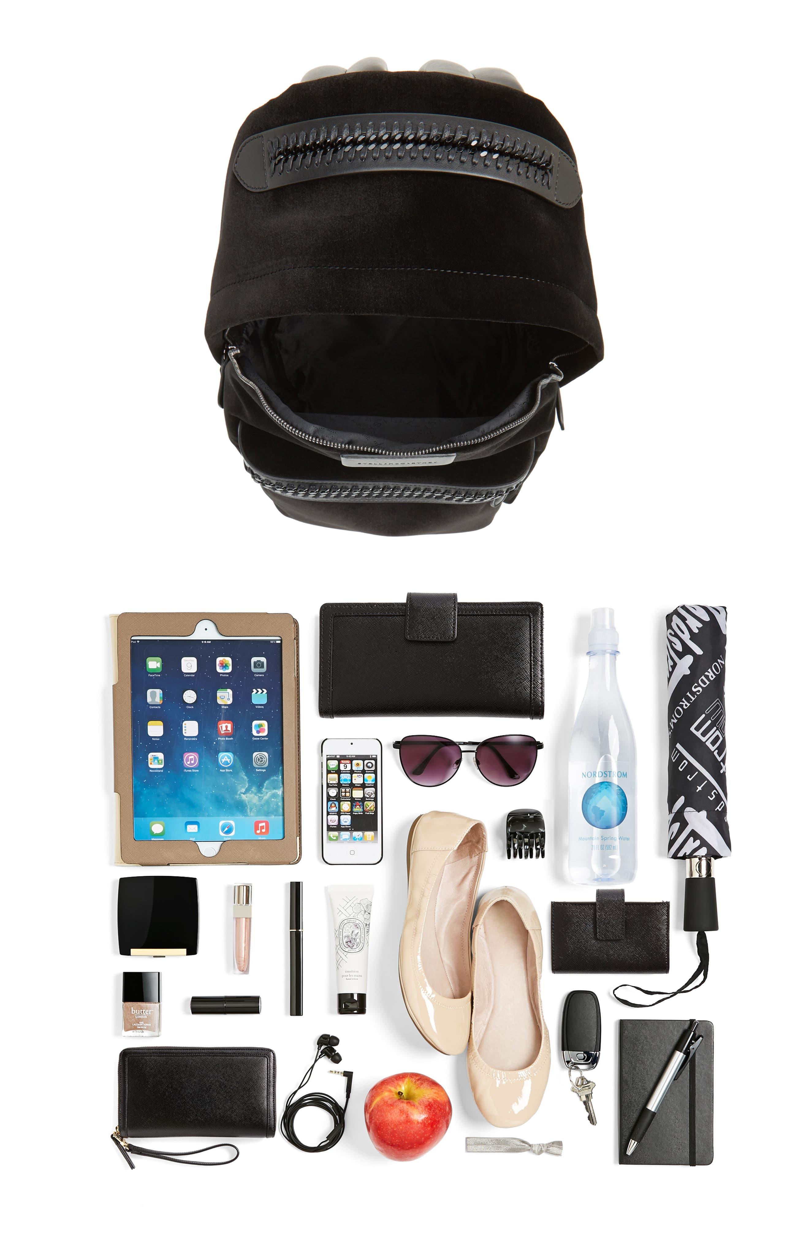 Medium Falabella Velvet Backpack,                             Alternate thumbnail 7, color,                             001