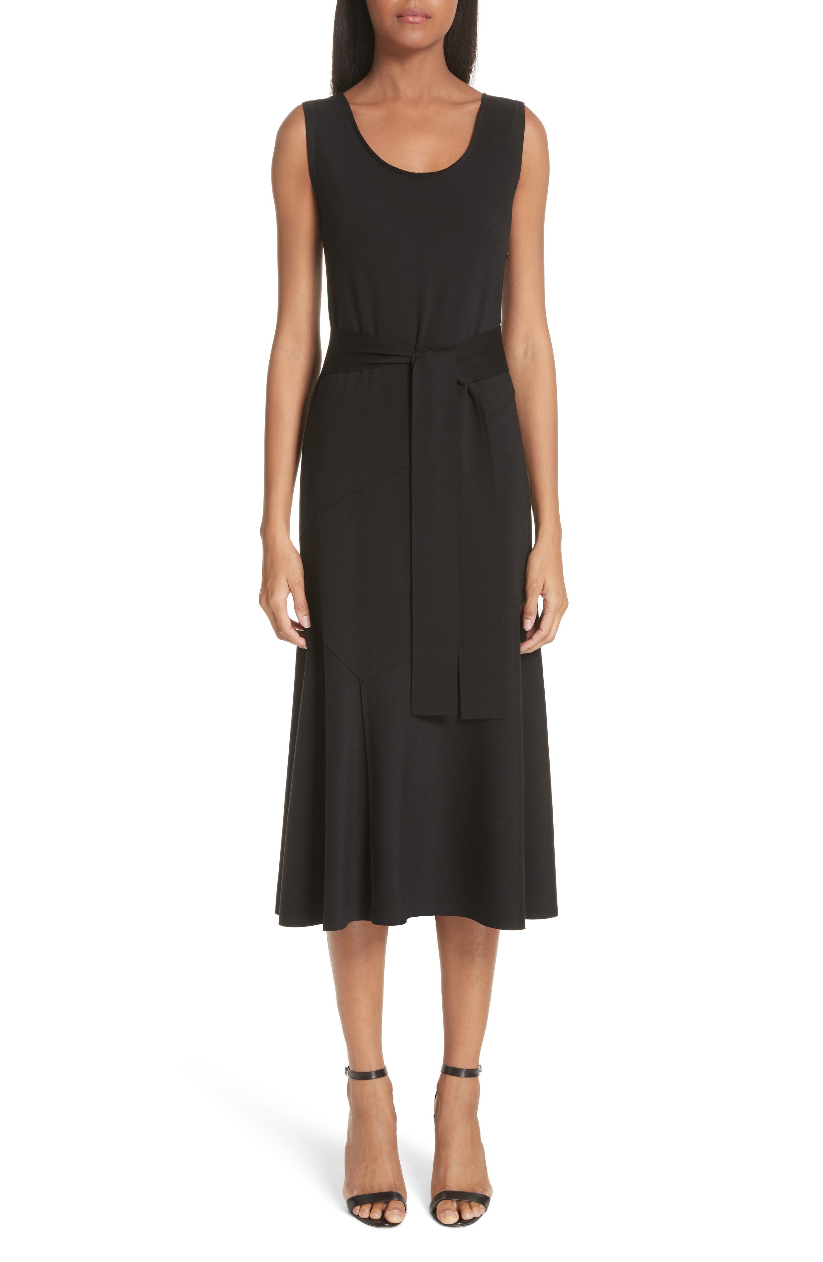 Belted Fit & Flare Midi Dress, Main, color, NERO