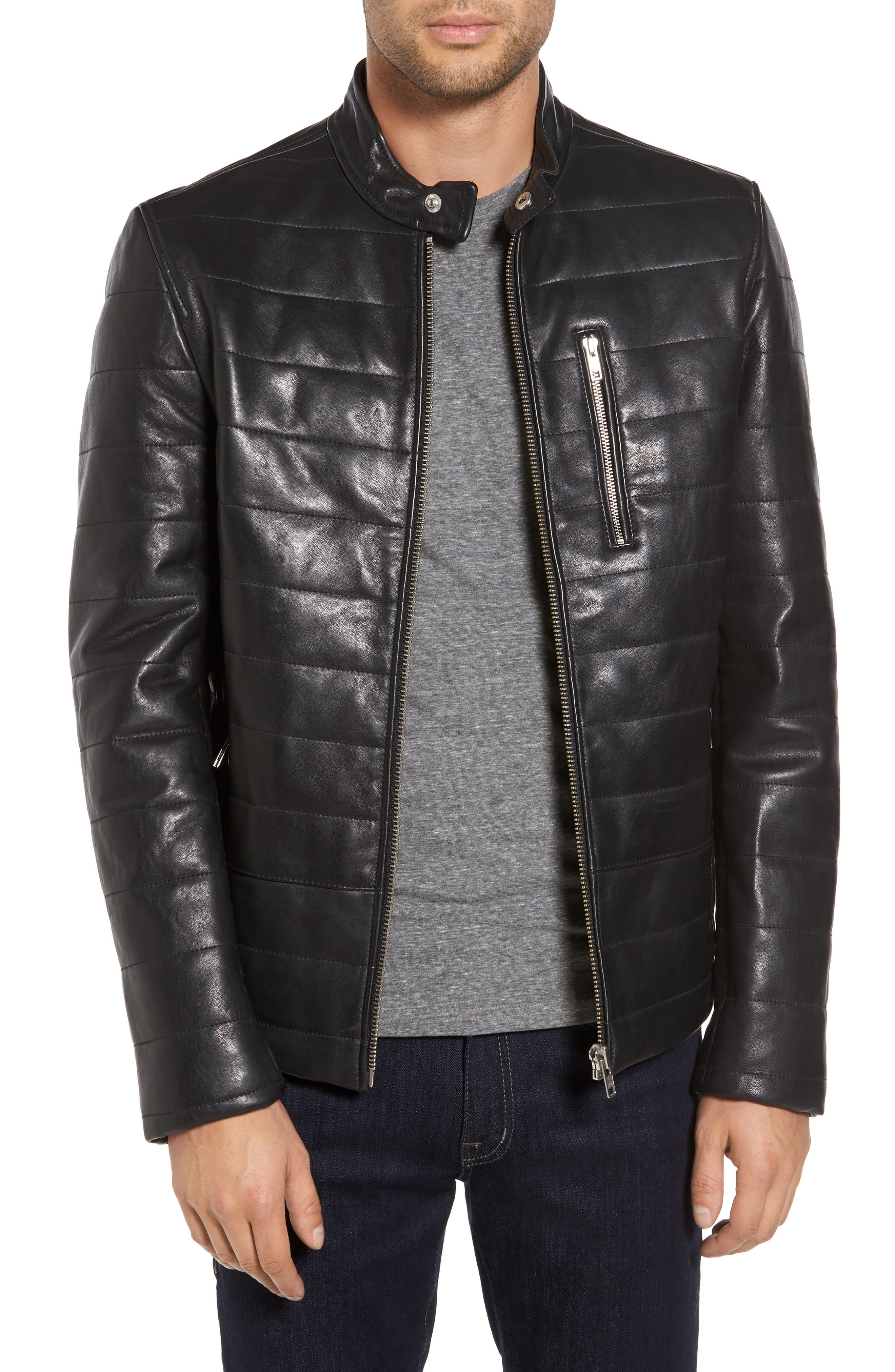 Quilted Leather Moto Jacket,                         Main,                         color, 001