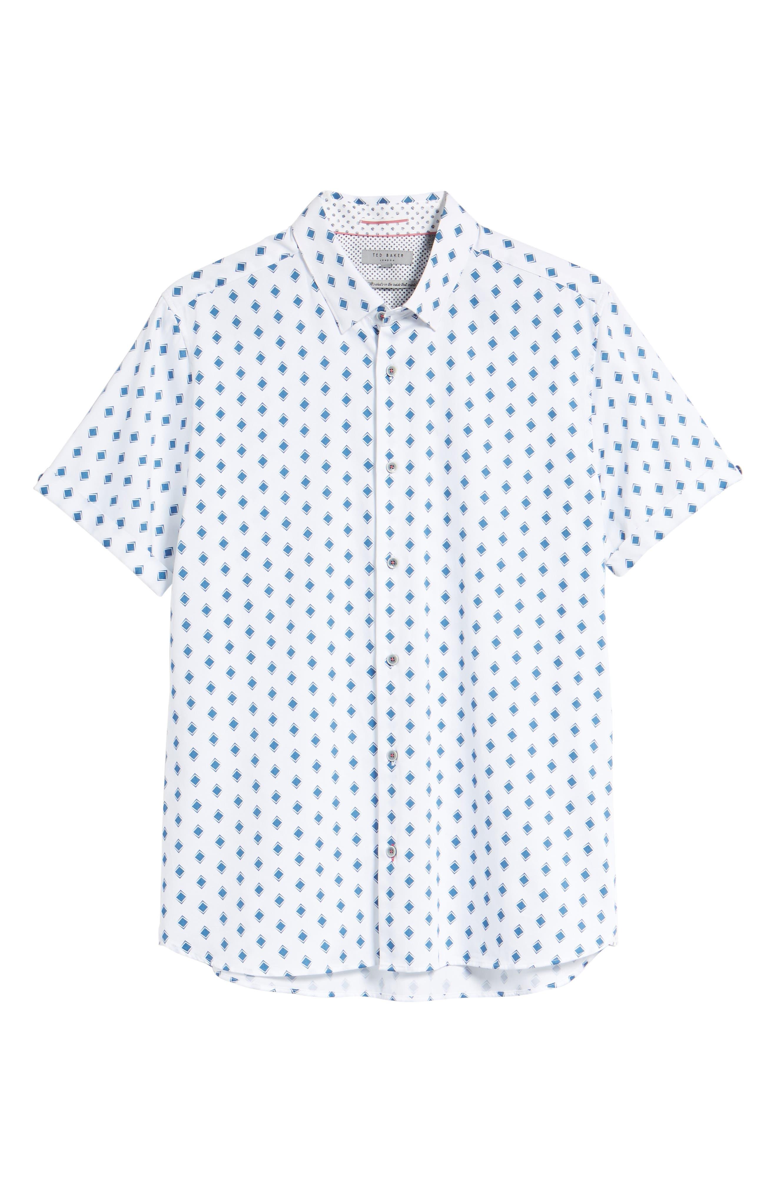 Sineral Trim Fit Short Sleeve Sport Shirt,                             Alternate thumbnail 6, color,                             100