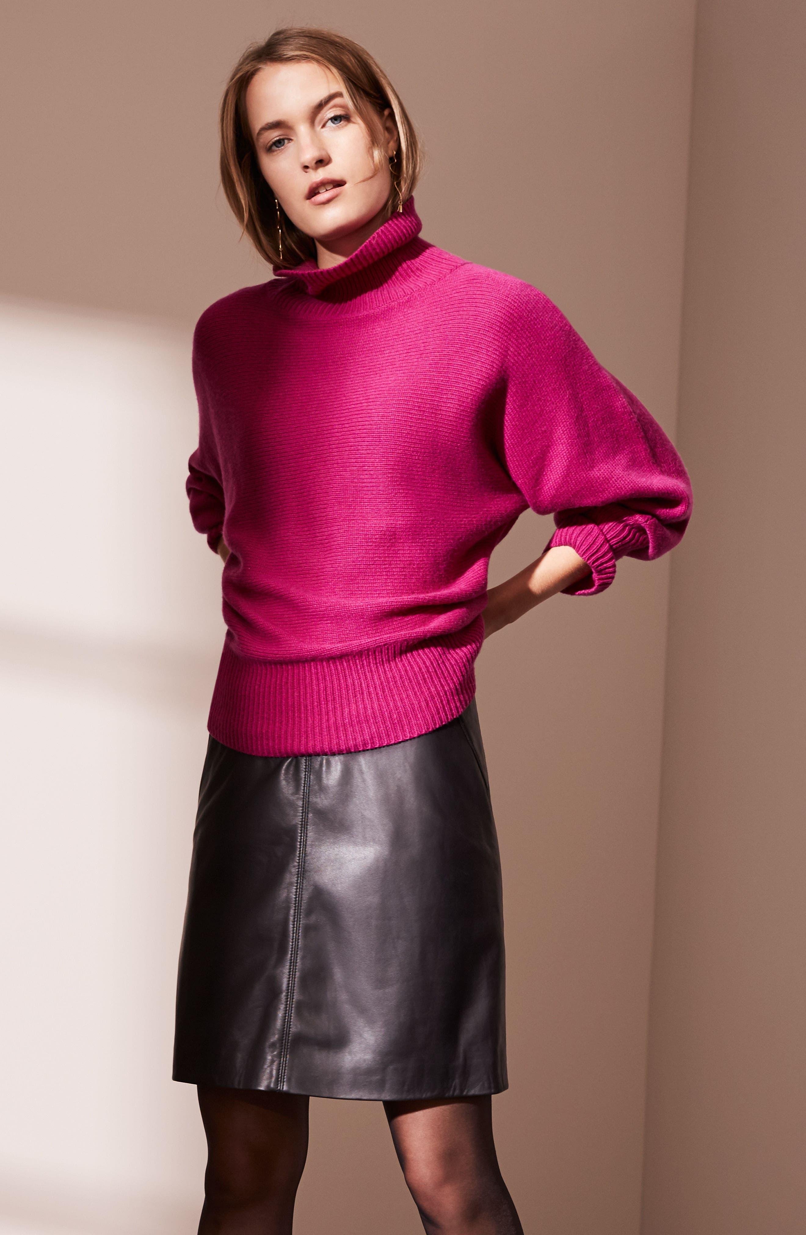 Leather Skirt,                             Alternate thumbnail 7, color,                             001