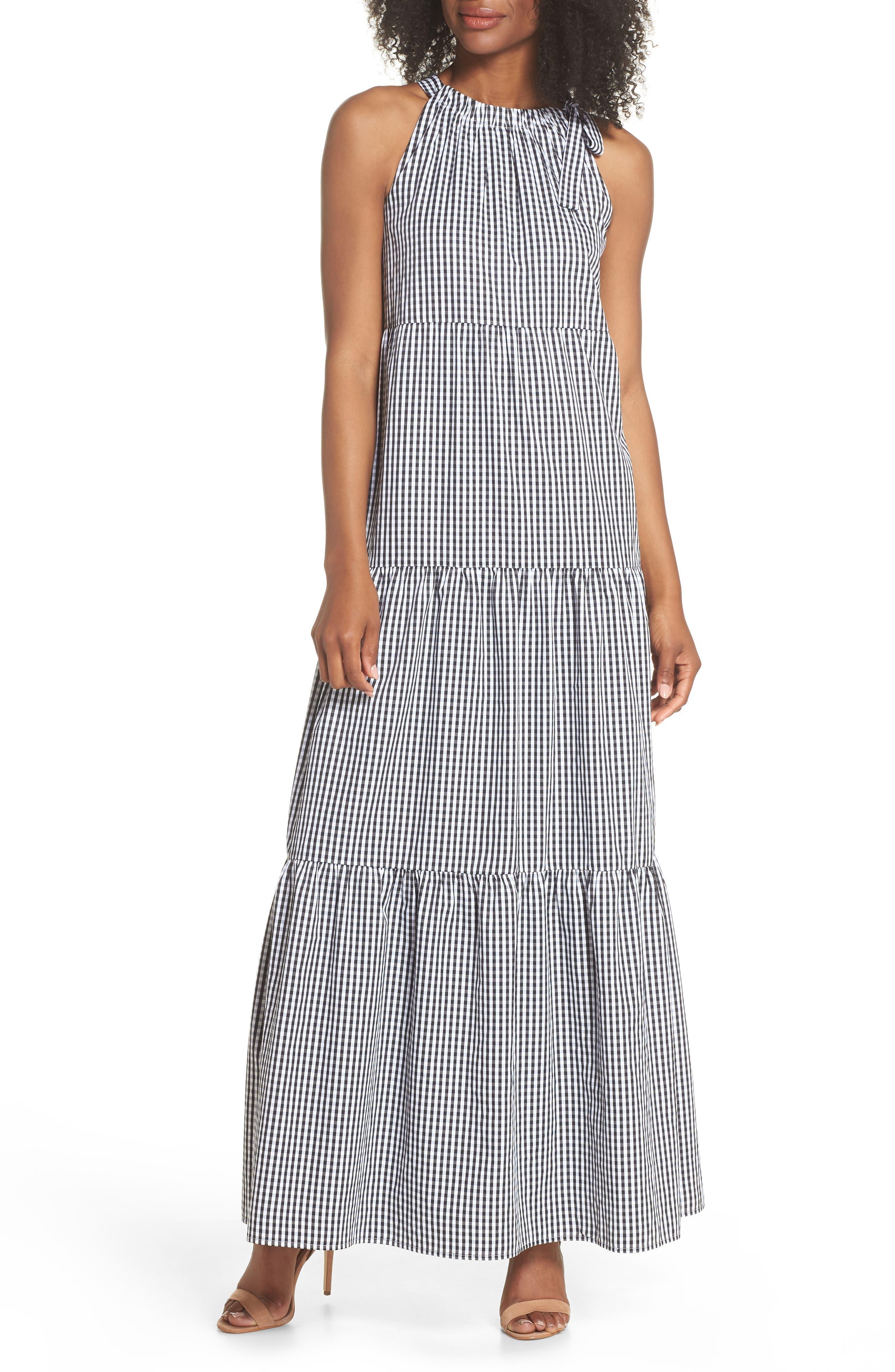 Gingham Check Maxi Dress,                             Main thumbnail 1, color,                             100