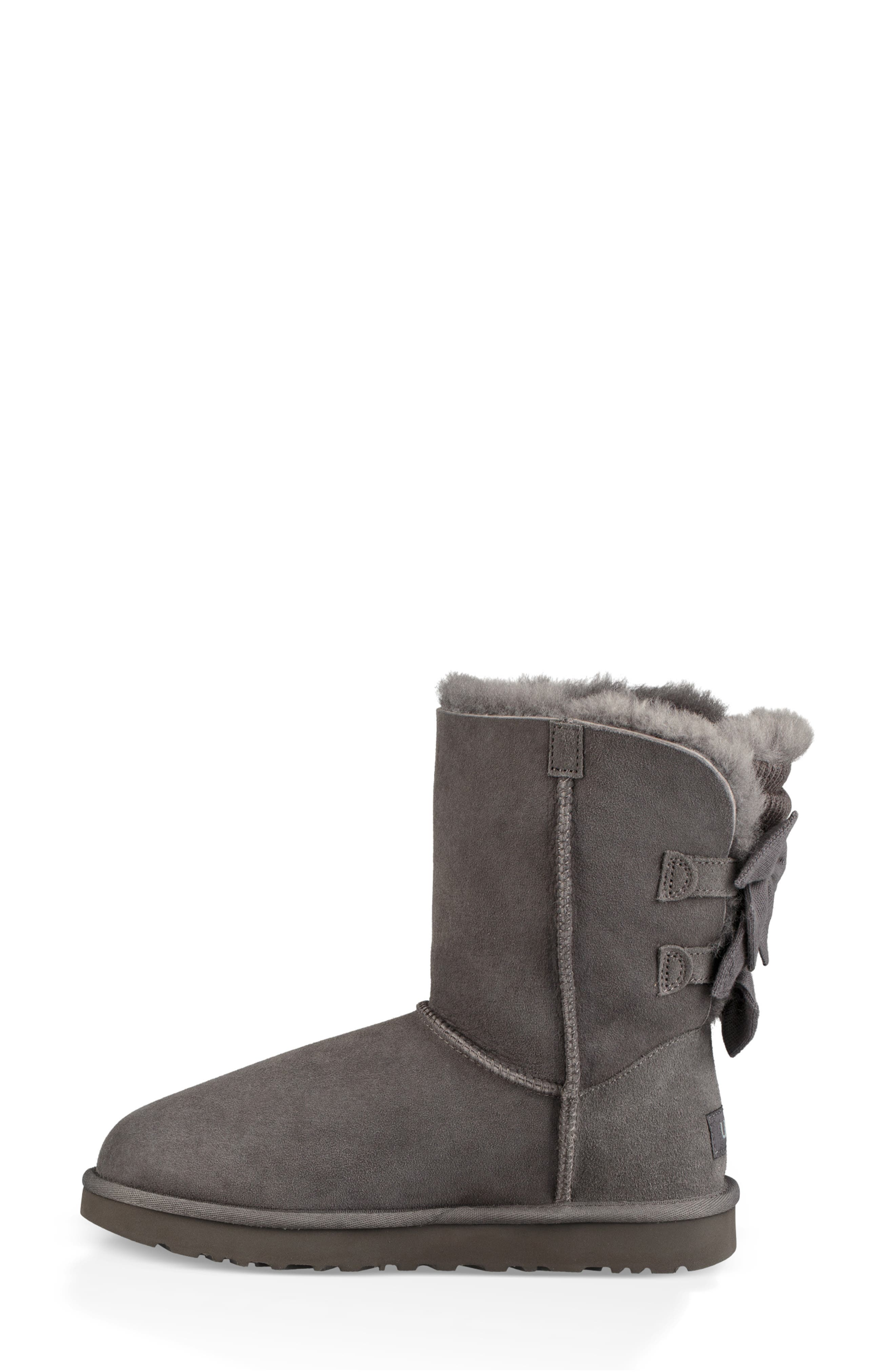 Bailey Bow Genuine Shearling Bootie,                             Alternate thumbnail 6, color,                             020