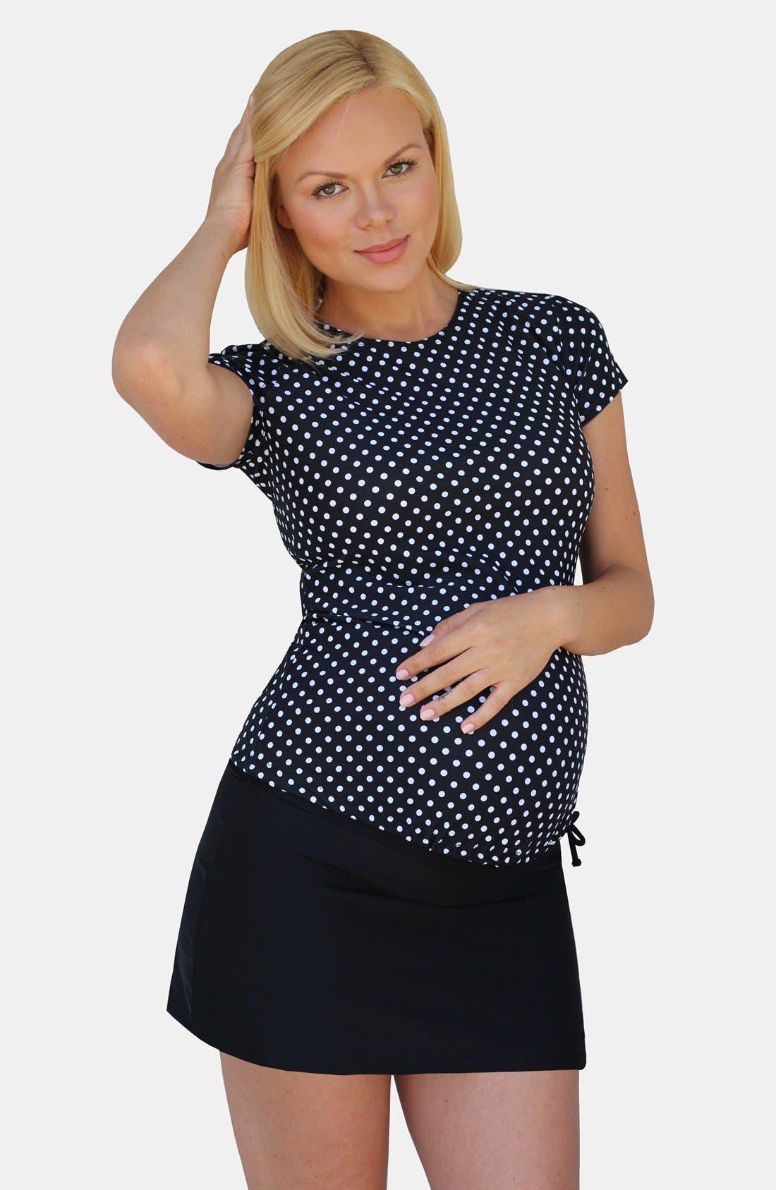 Short Sleeve Rashguard Swim Shirt,                             Main thumbnail 1, color,                             BLACK/ WHITE POLKA DOTS