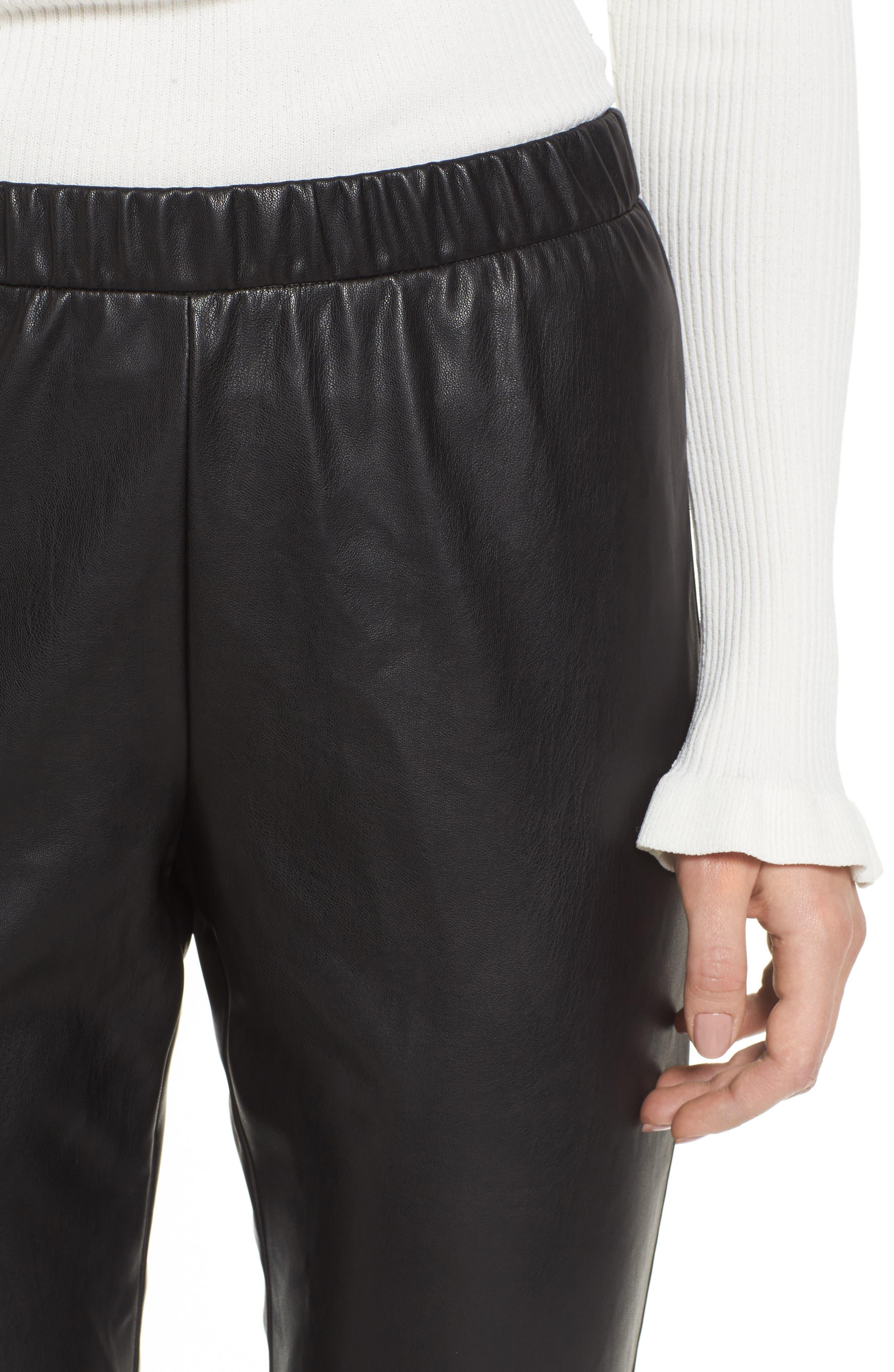 Zowie Faux Leather Pants,                             Alternate thumbnail 4, color,                             001