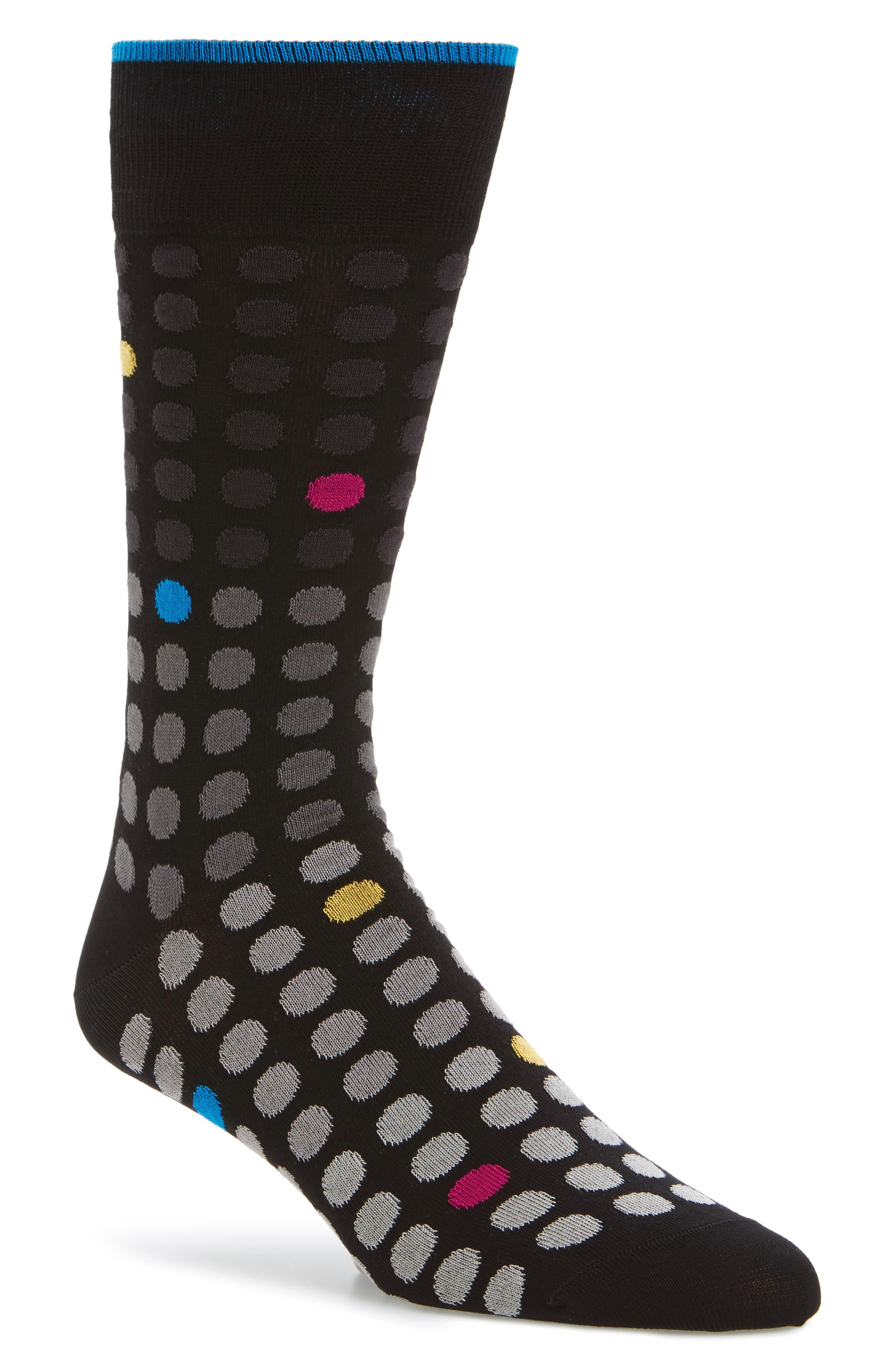 Polka Dot Crew Socks,                             Main thumbnail 1, color,                             001