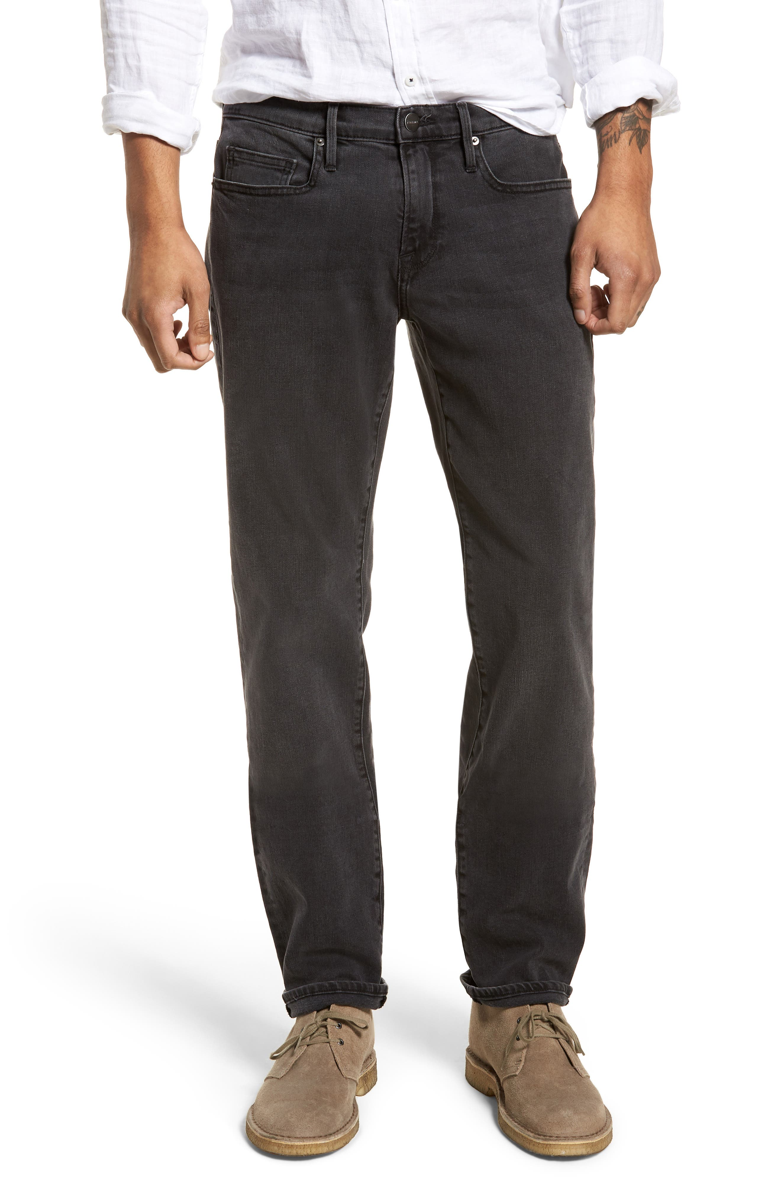 L'Homme Straight Leg Jeans,                             Main thumbnail 1, color,                             FADE TO GREY