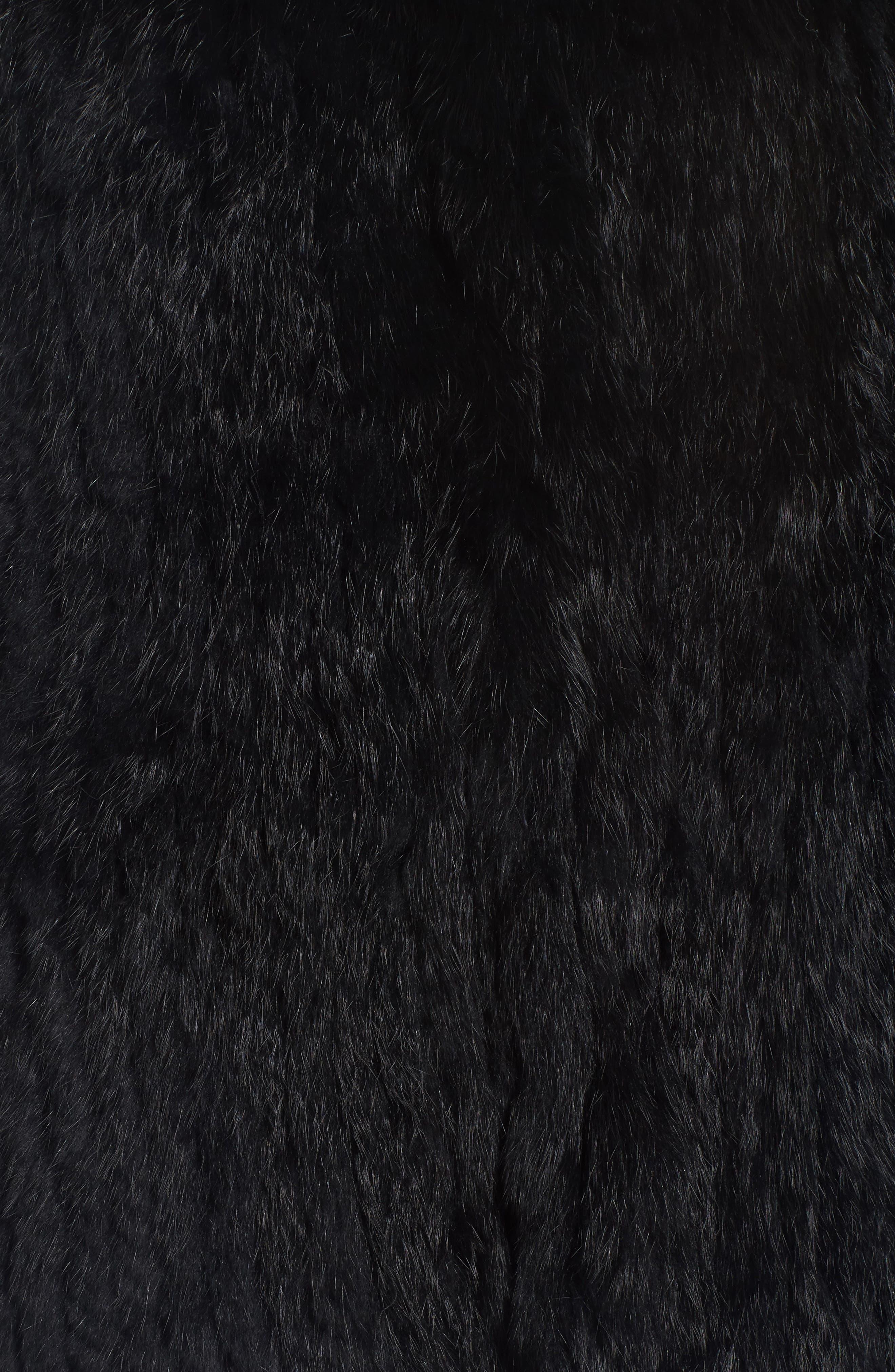 Genuine Rabbit Fur Vest,                             Alternate thumbnail 6, color,                             BLACK