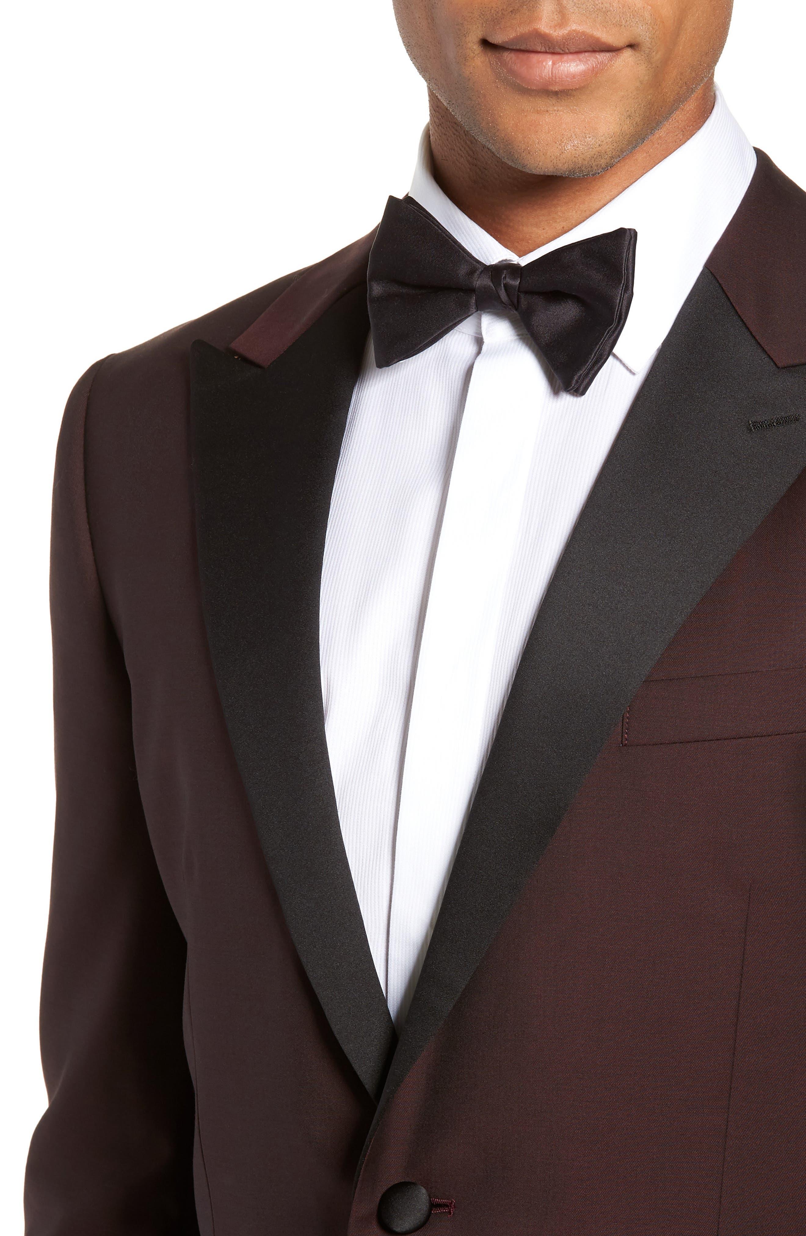 Capstone Slim Fit Italian Wool Dinner Jacket,                             Alternate thumbnail 4, color,                             MAROON