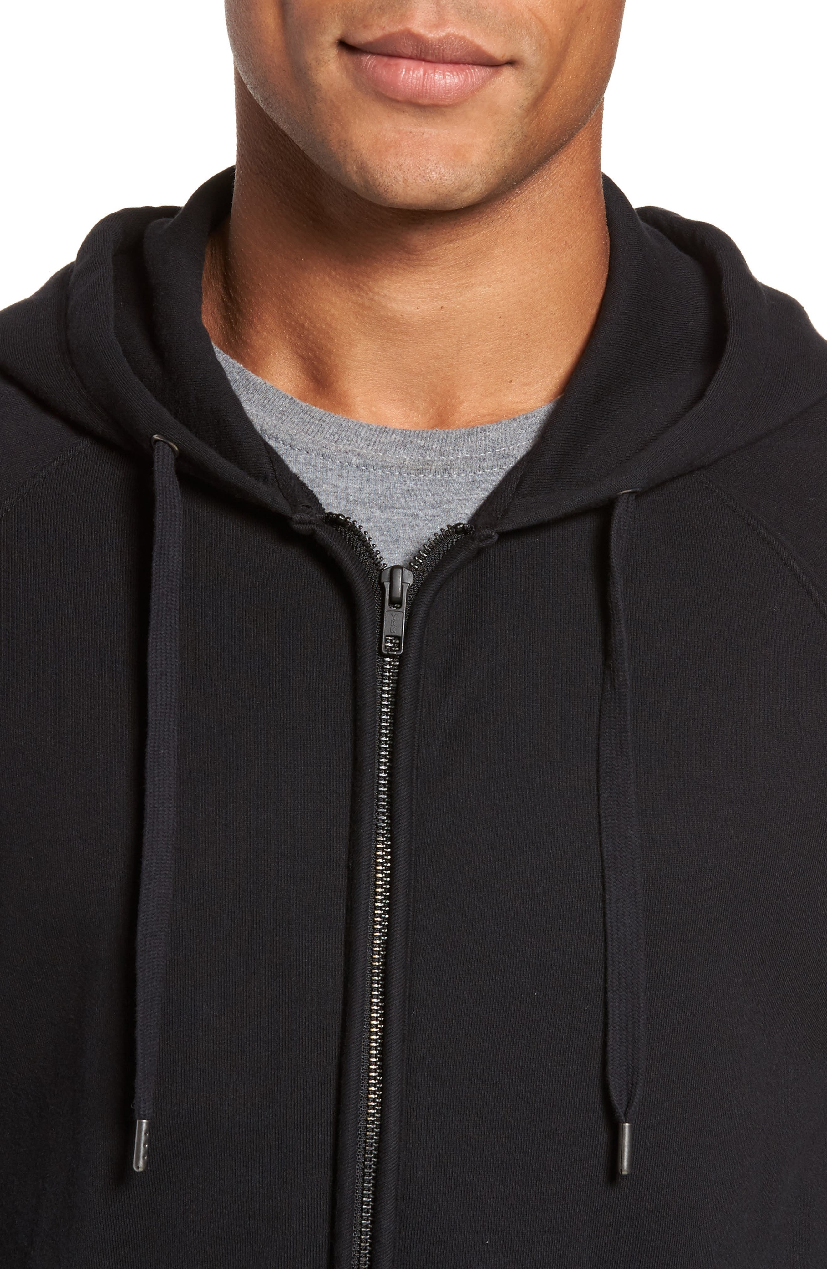 French Terry Zip Hoodie,                             Alternate thumbnail 4, color,                             001