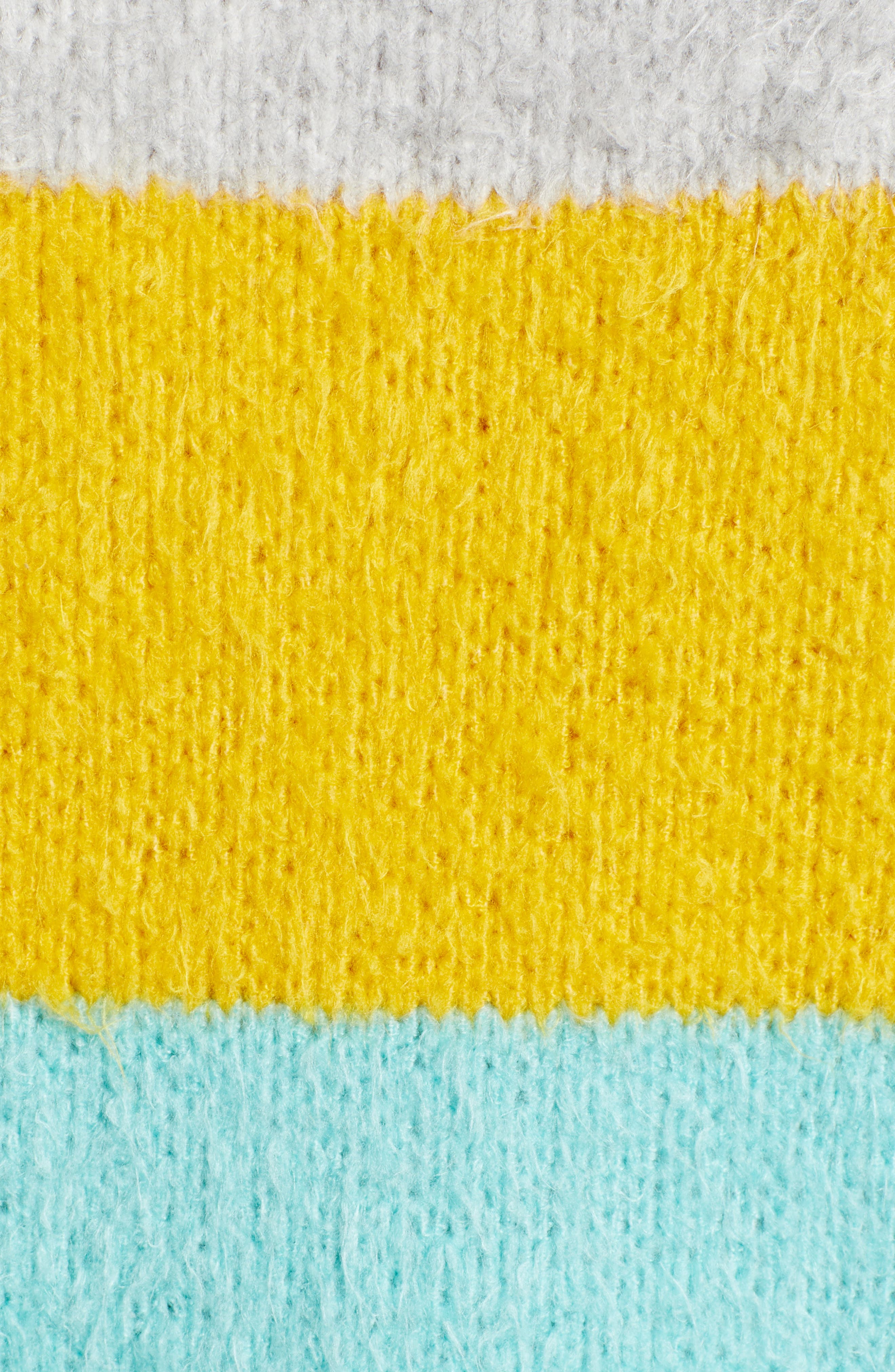Bold Stripe Oversize Sweater,                             Alternate thumbnail 5, color,                             TEAL PACIFIC WIDE STRIPE