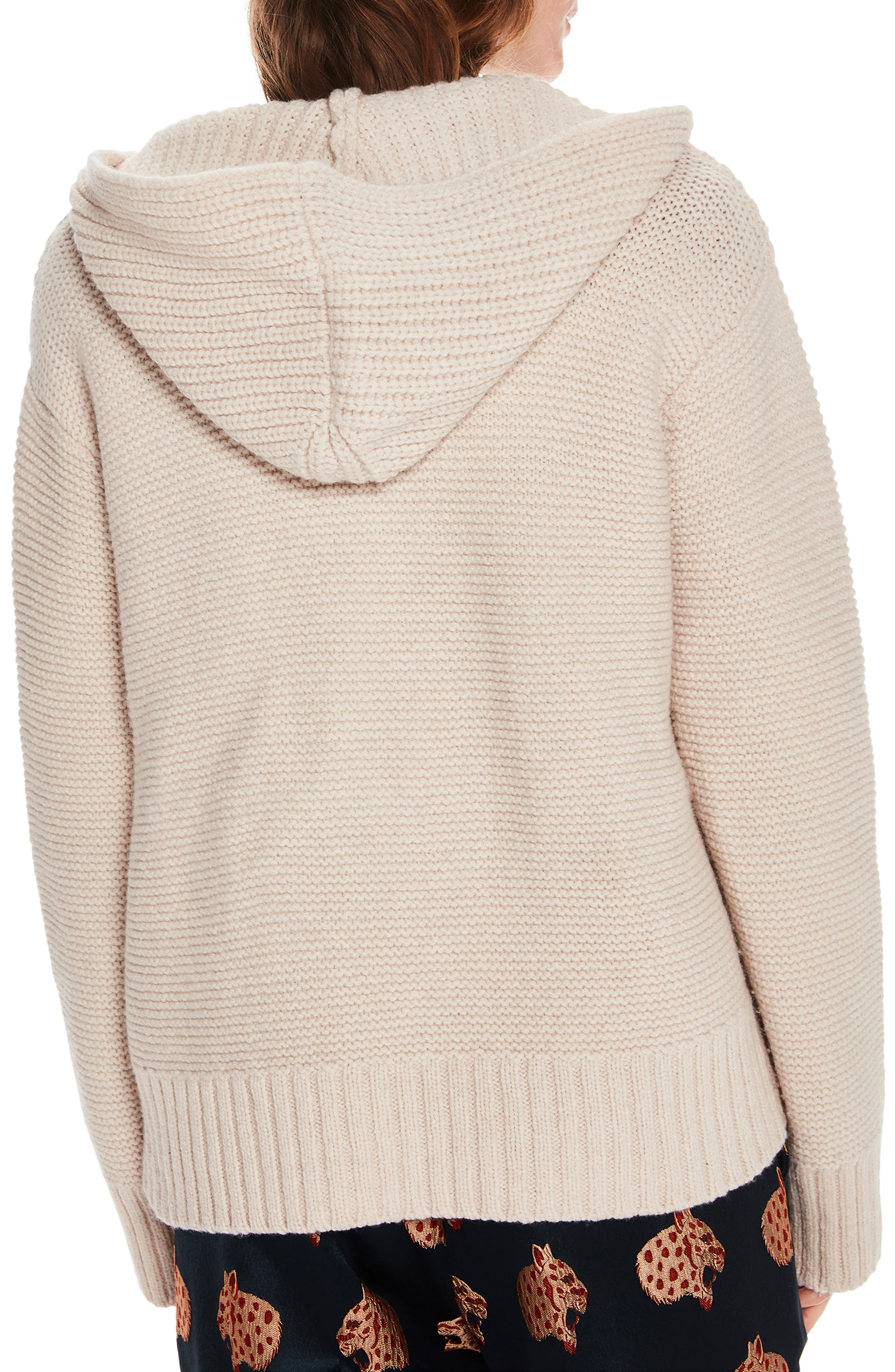 Lace-Up Knit Hooded Sweater,                             Alternate thumbnail 2, color,                             CREAM