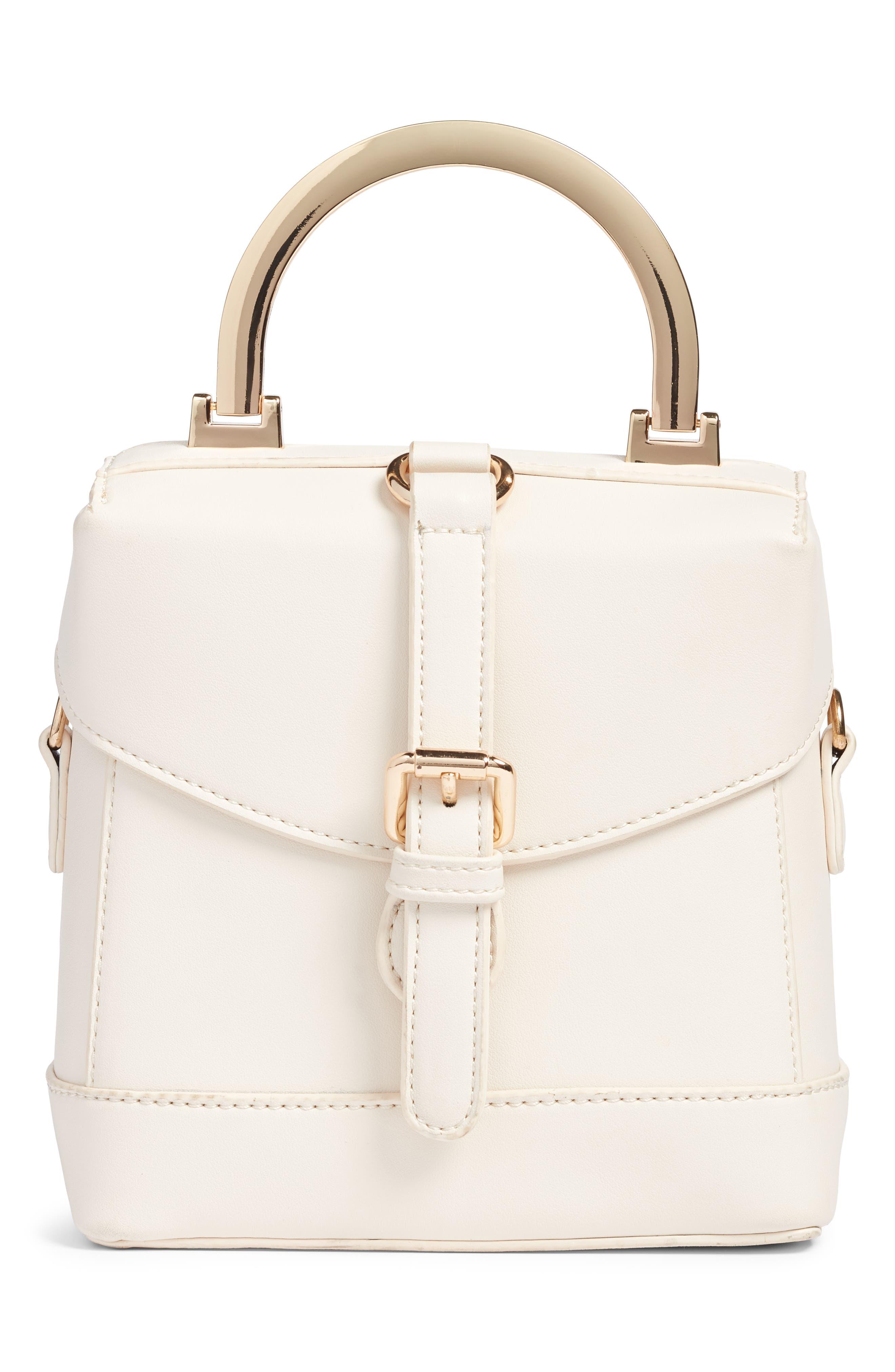 Top Handle Studded Bag,                             Main thumbnail 1, color,                             WHITE