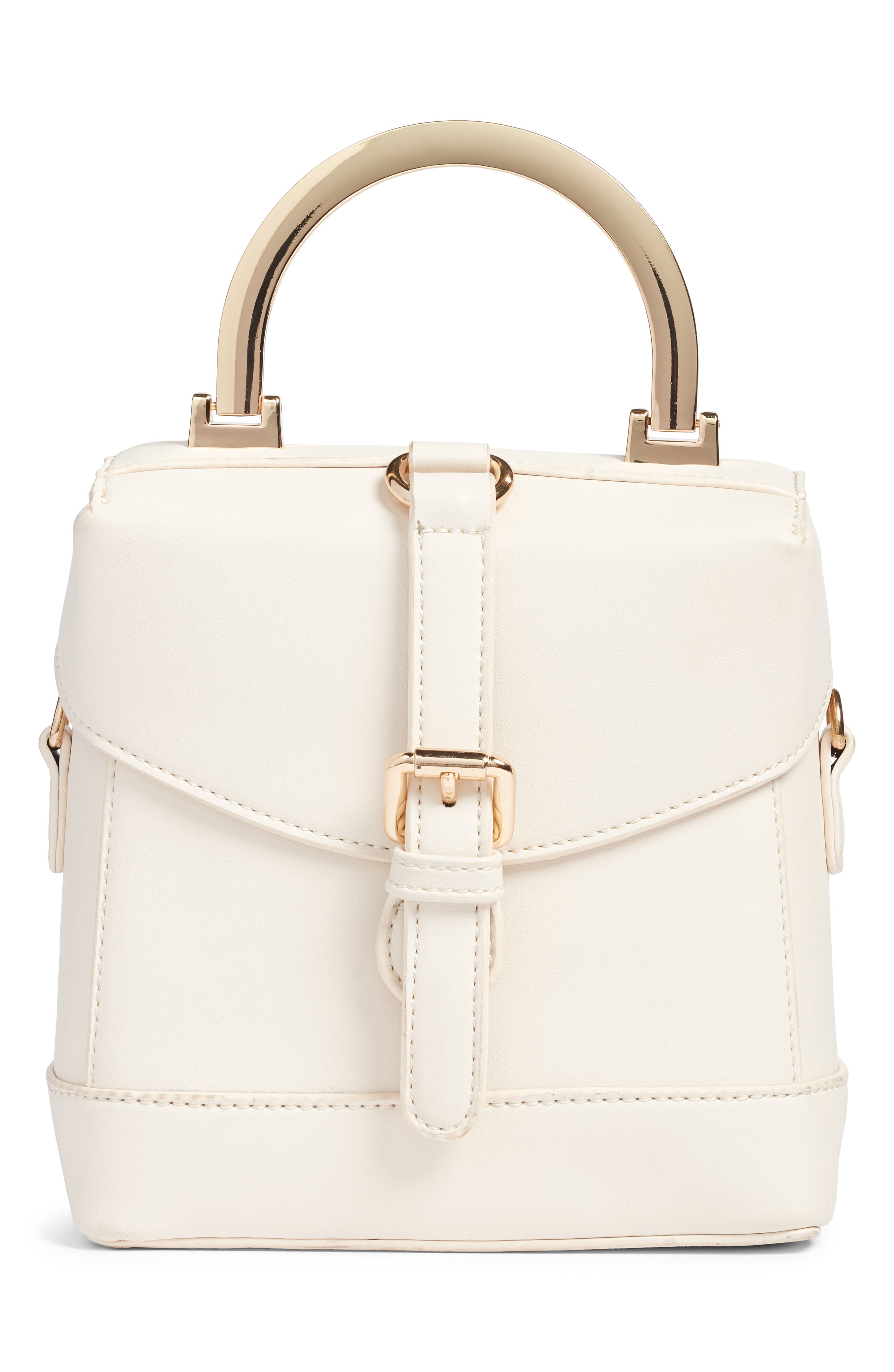 STREET LEVEL Top Handle Studded Bag - White