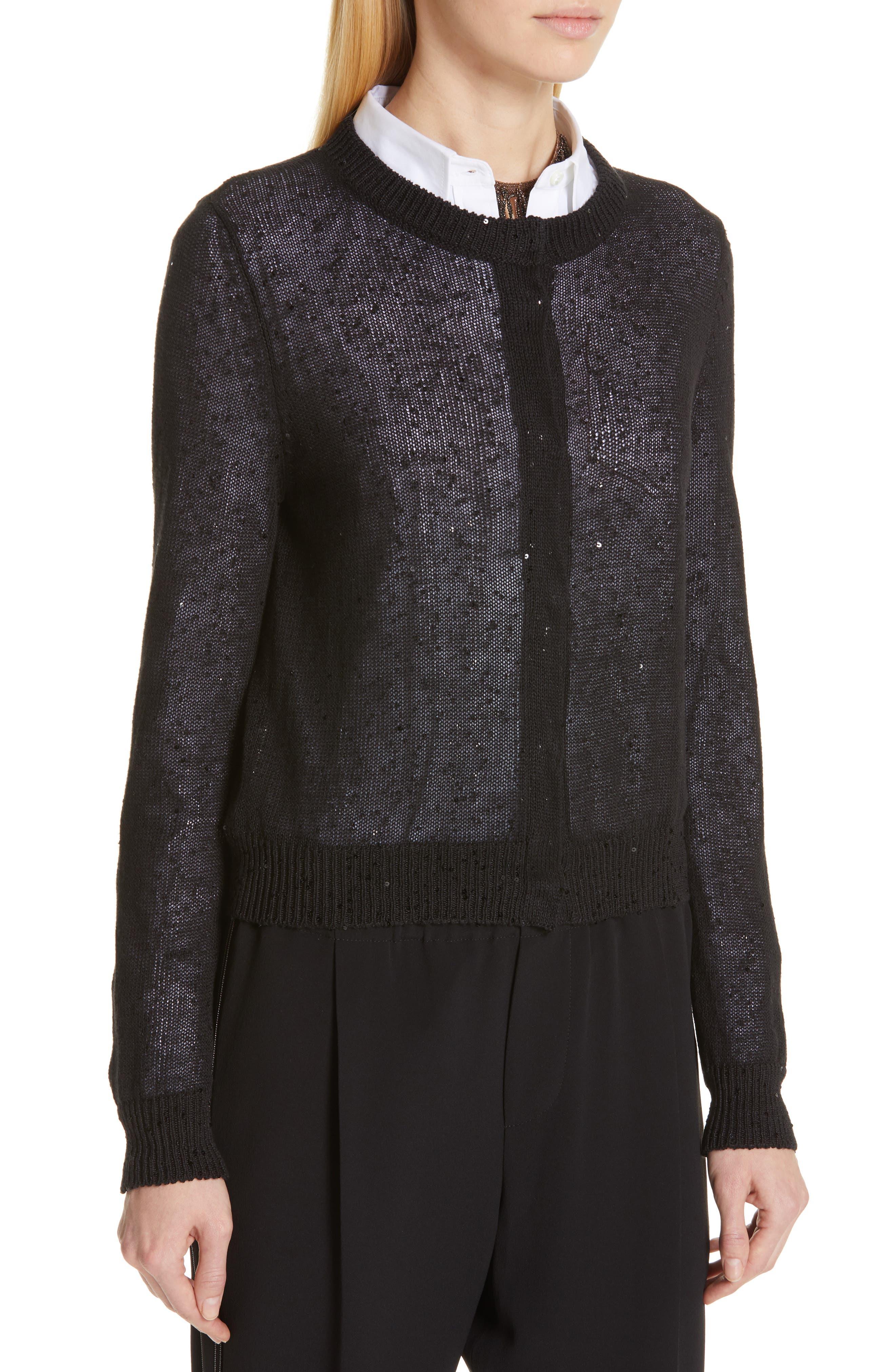 Sequin Linen & Silk Crop Cardigan,                             Alternate thumbnail 4, color,                             BLACK