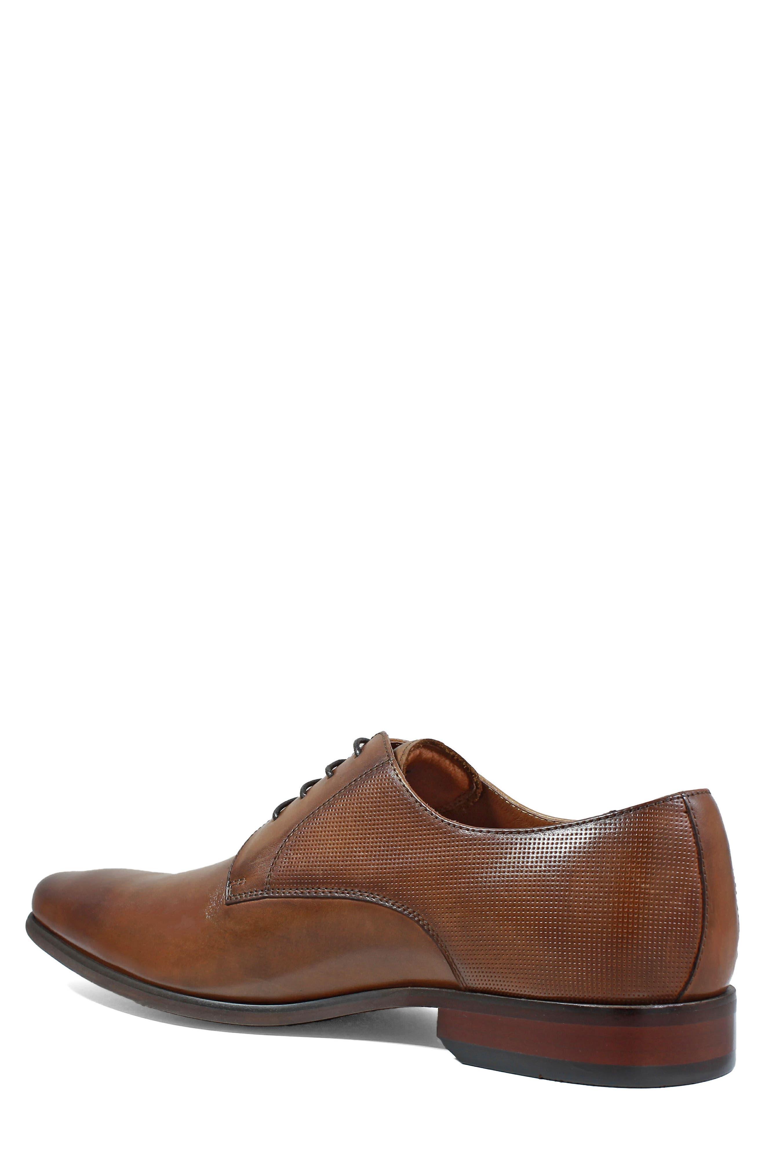 FLORSHEIM,                             Postino Textured Plain Toe Derby,                             Alternate thumbnail 2, color,                             COGNAC LEATHER