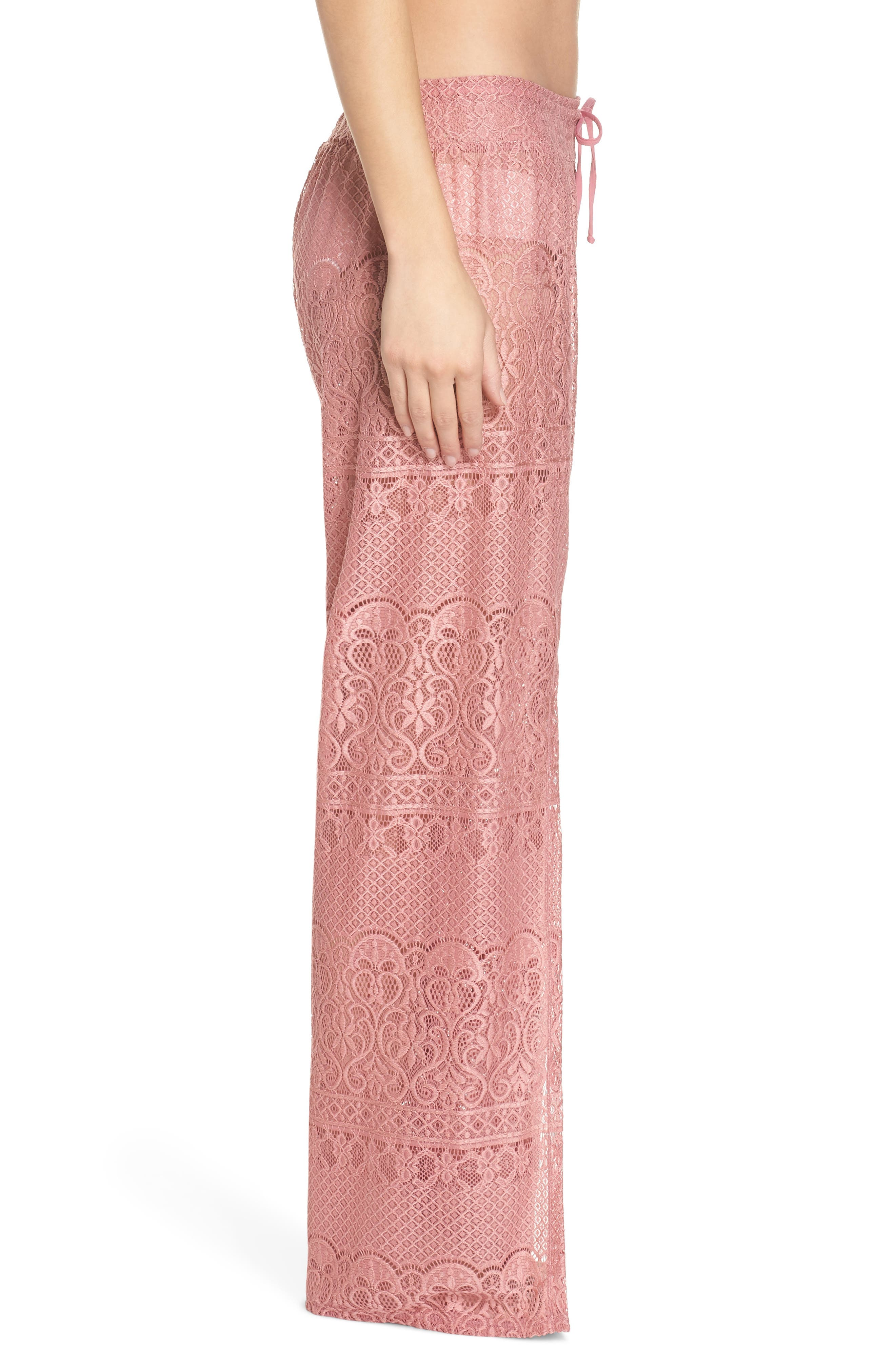 About Lace Cover-Up Pants,                             Alternate thumbnail 3, color,                             DUSTY ROSE