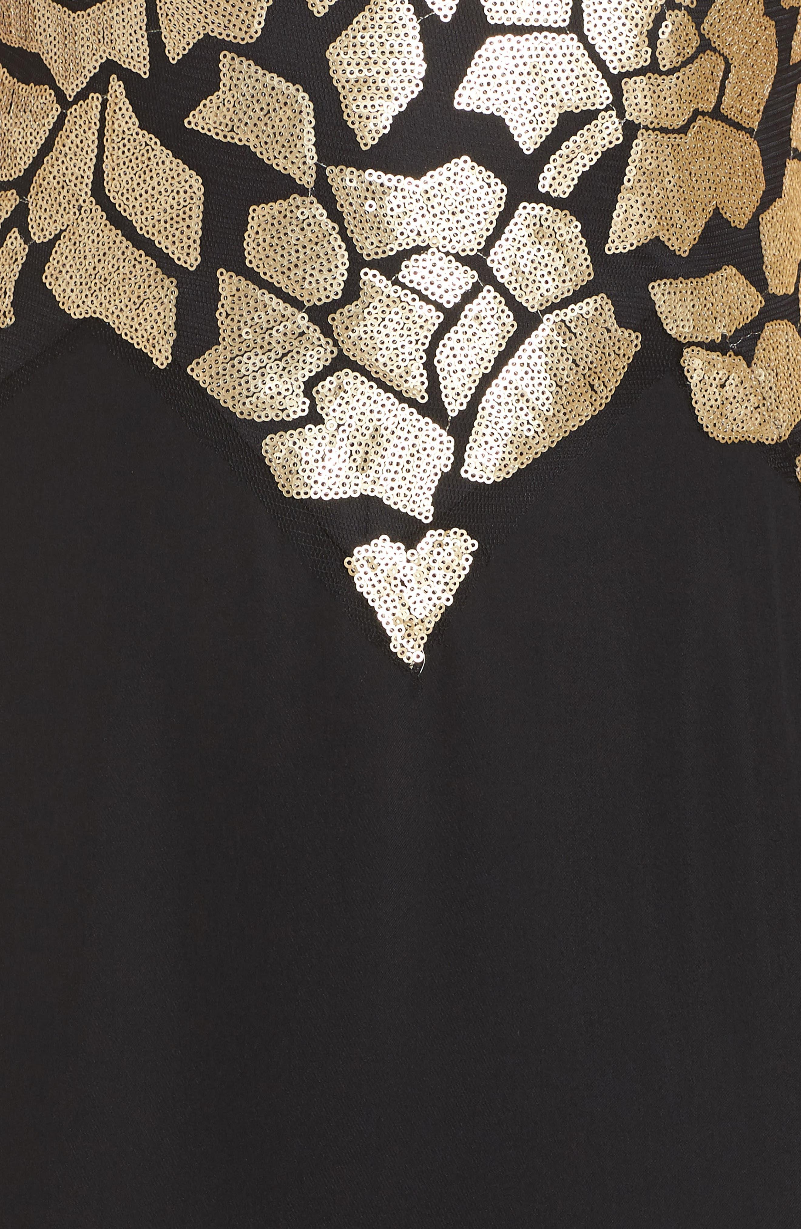 Sleeveless Sequin & Crepe Gown,                             Alternate thumbnail 6, color,                             BLACK/ GOLD
