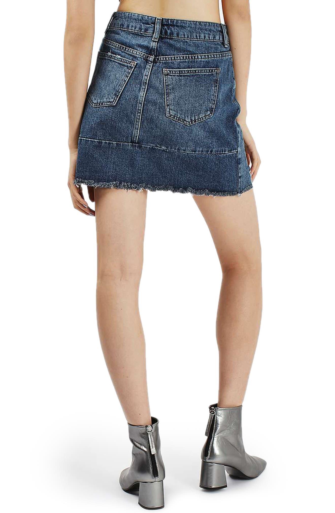 Moto Patchwork Denim Skirt,                             Alternate thumbnail 3, color,                             400