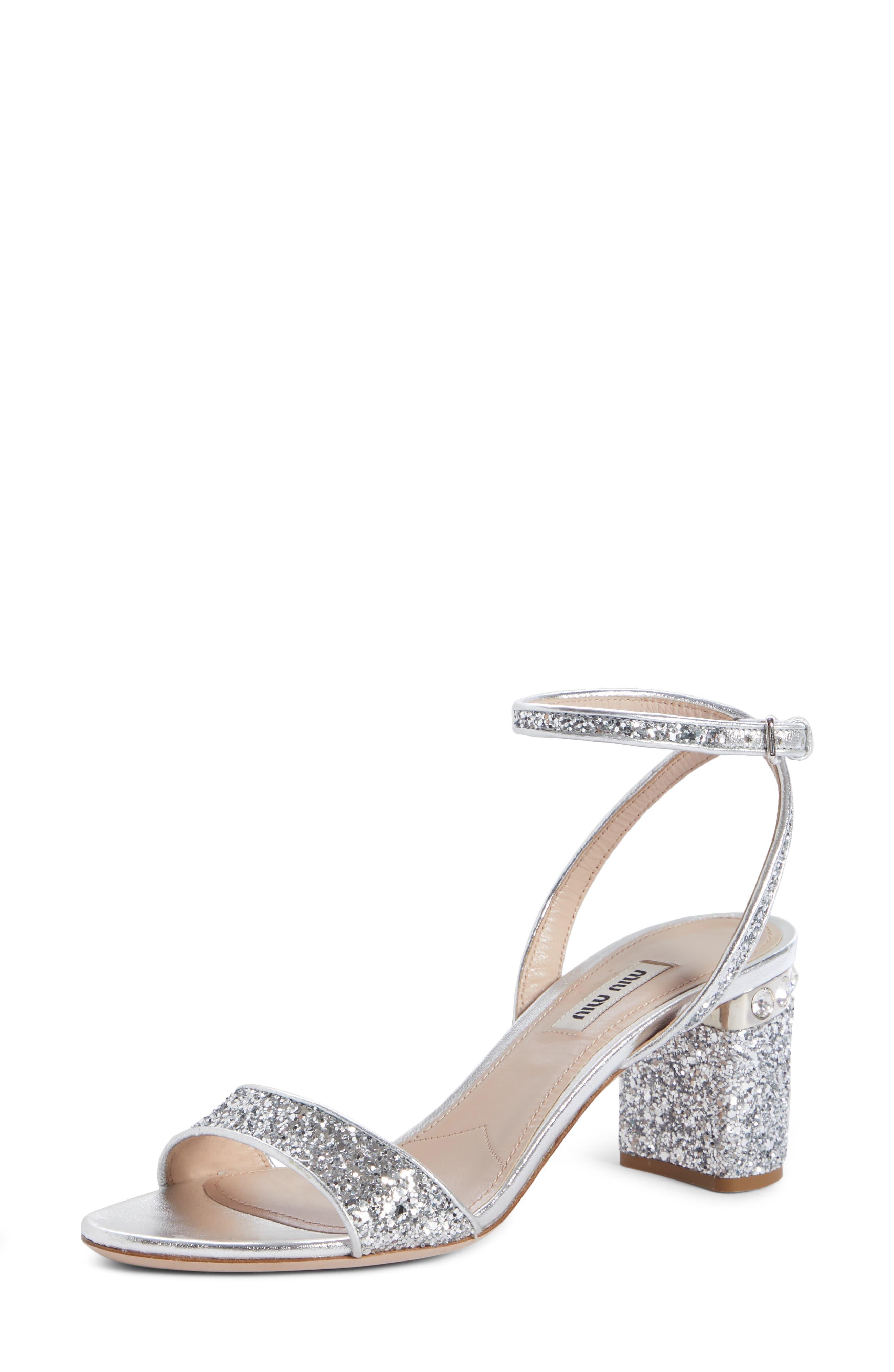 Glitter Crystal-Embellished Block-Heel Sandals in Silver