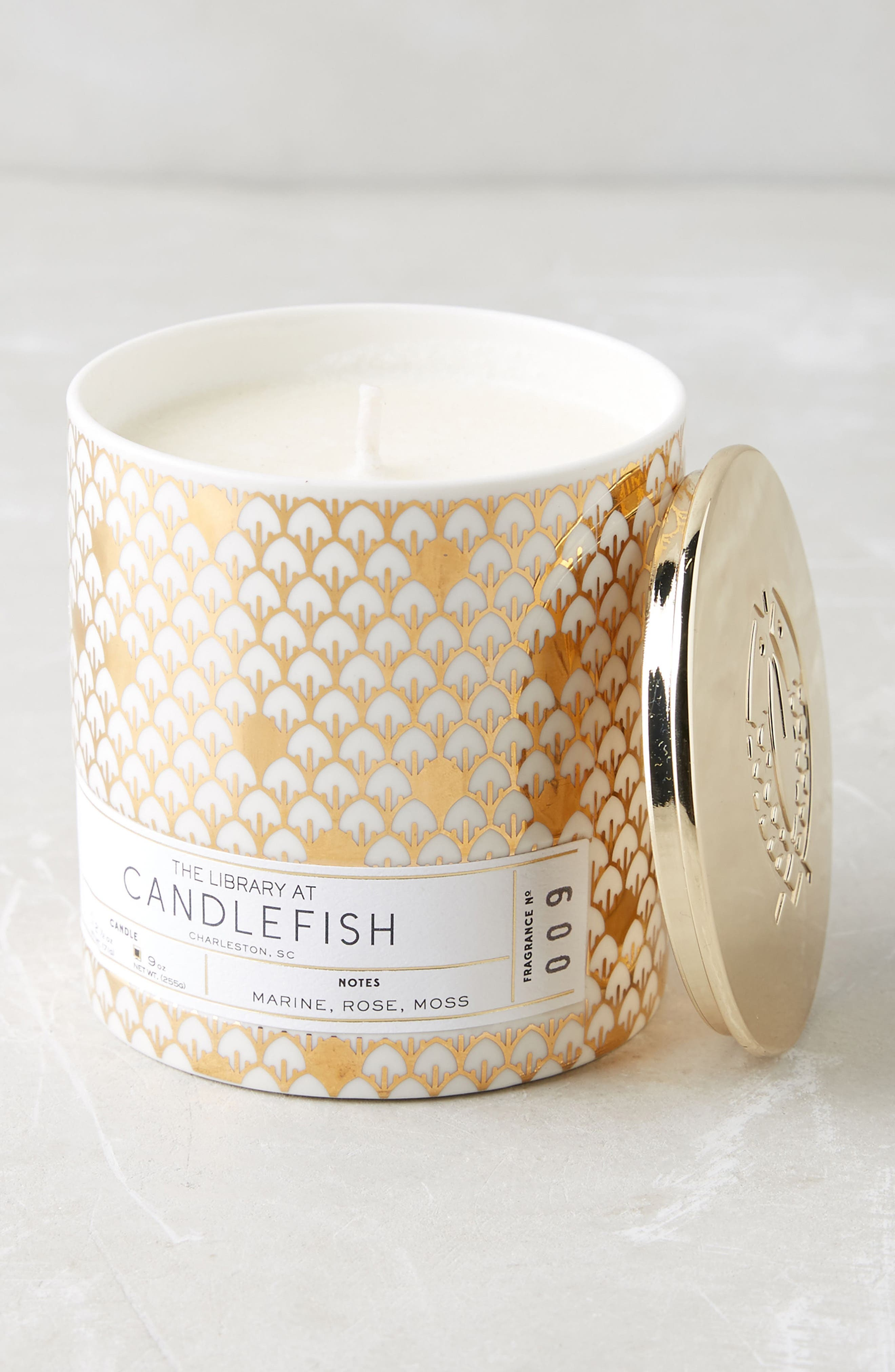 Candlefish Ceramic Candle,                         Main,                         color, 100