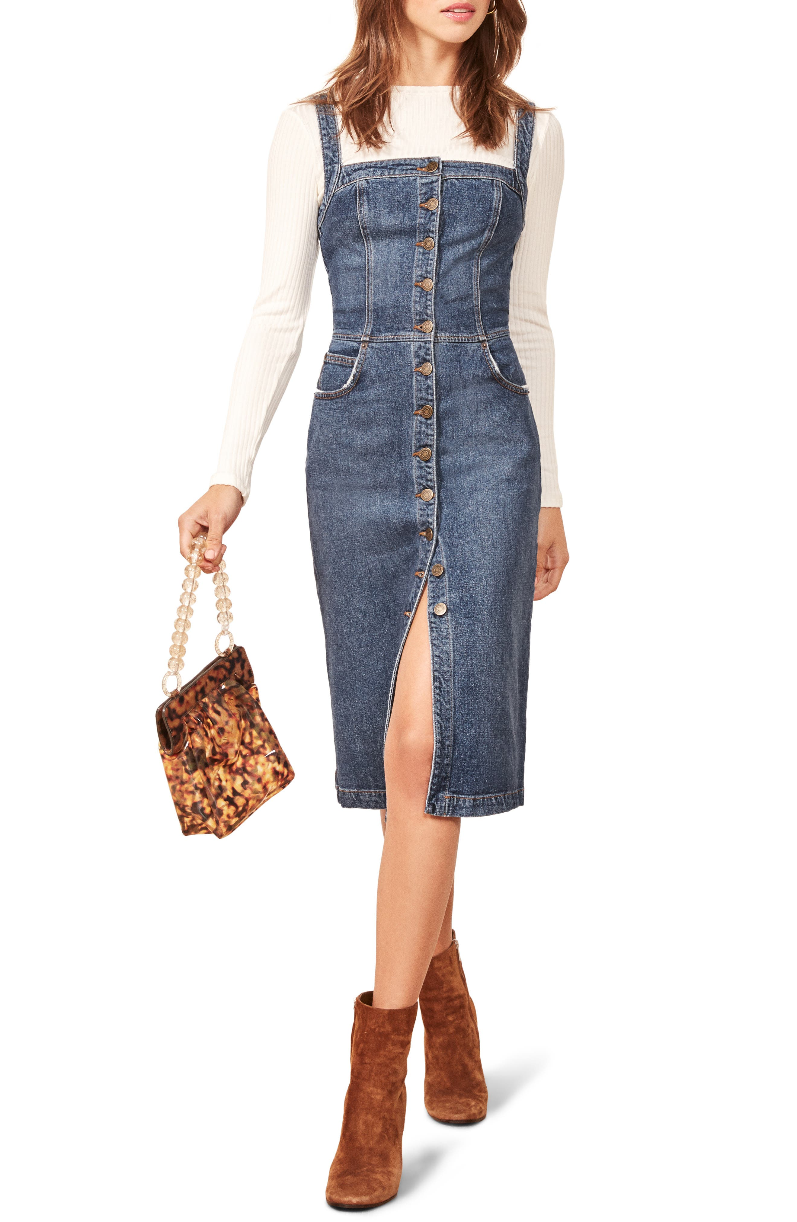 Camille Denim Overall Dress,                             Main thumbnail 1, color,                             KASAI