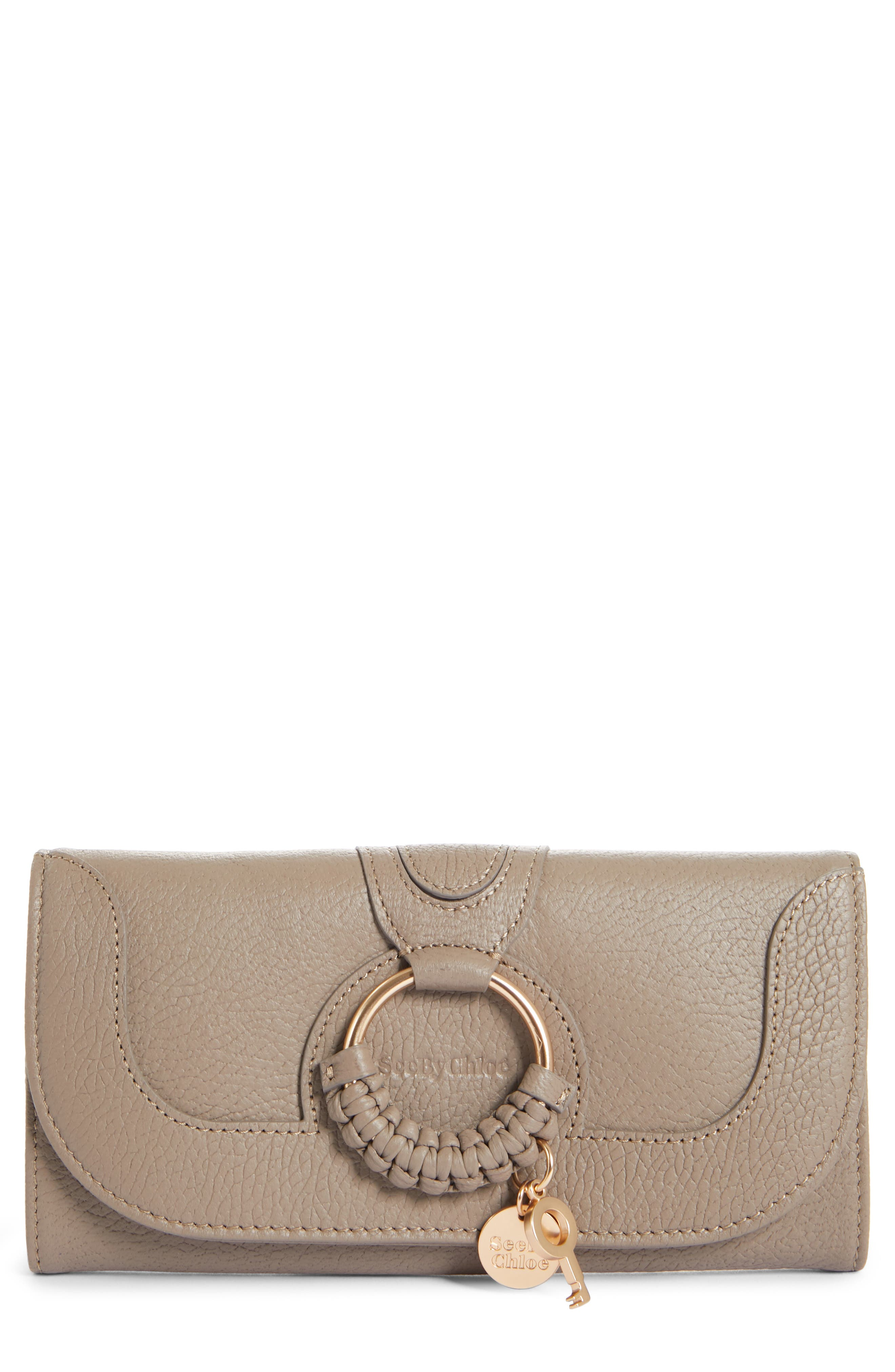 Hana Large Leather Wallet,                         Main,                         color, MOTTY GREY