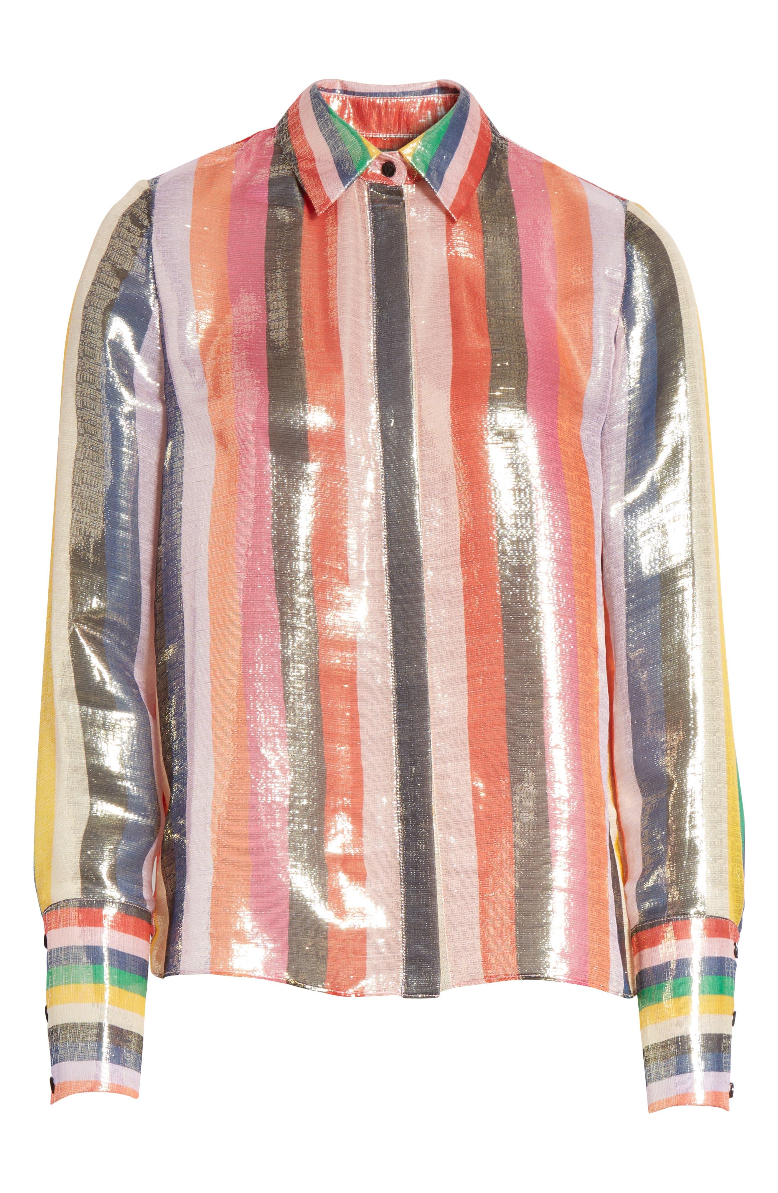 Metallic Stripe Shirt,                             Alternate thumbnail 6, color,