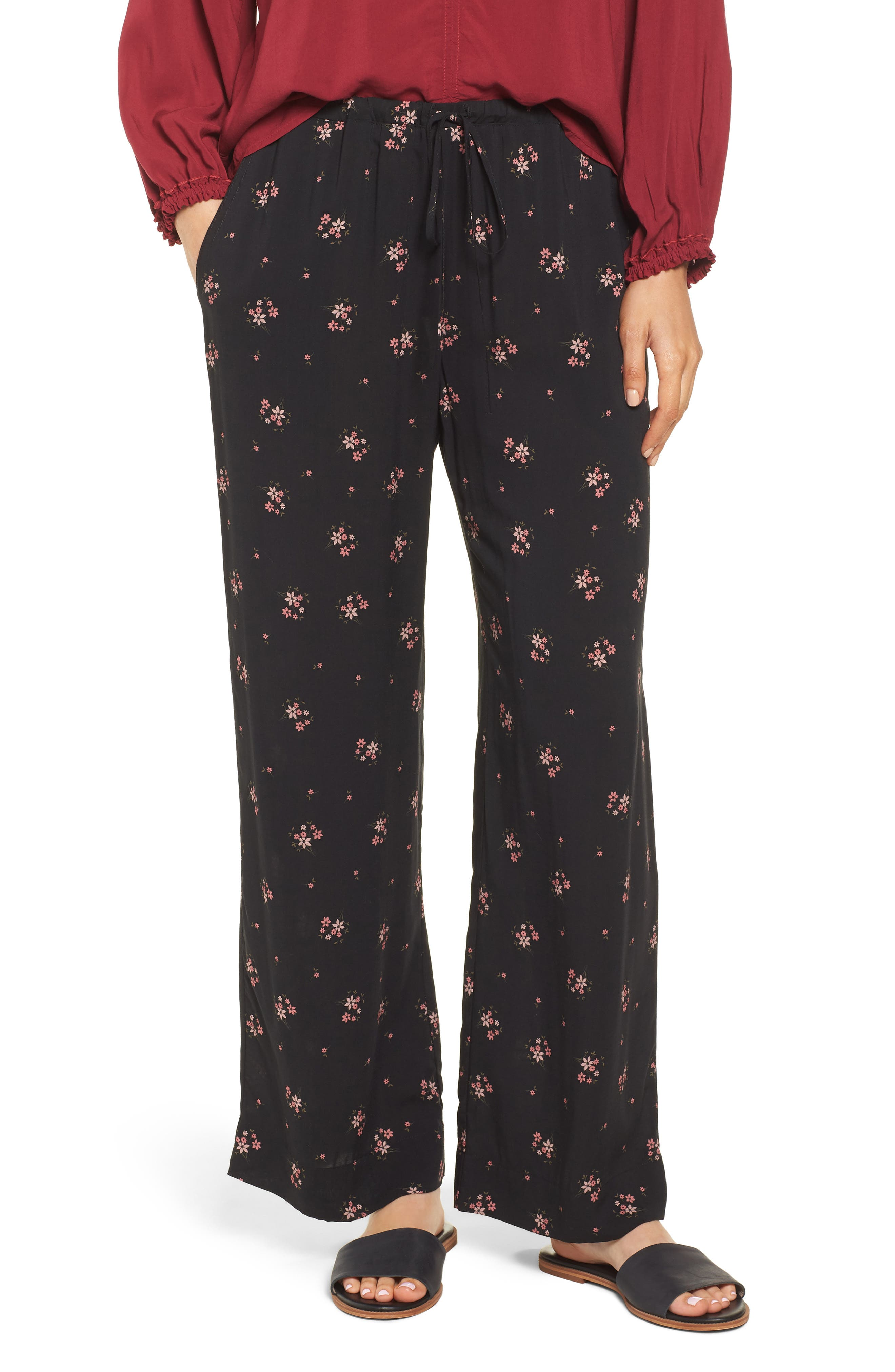 Floral Printed Pants,                         Main,                         color, CAMELLIA