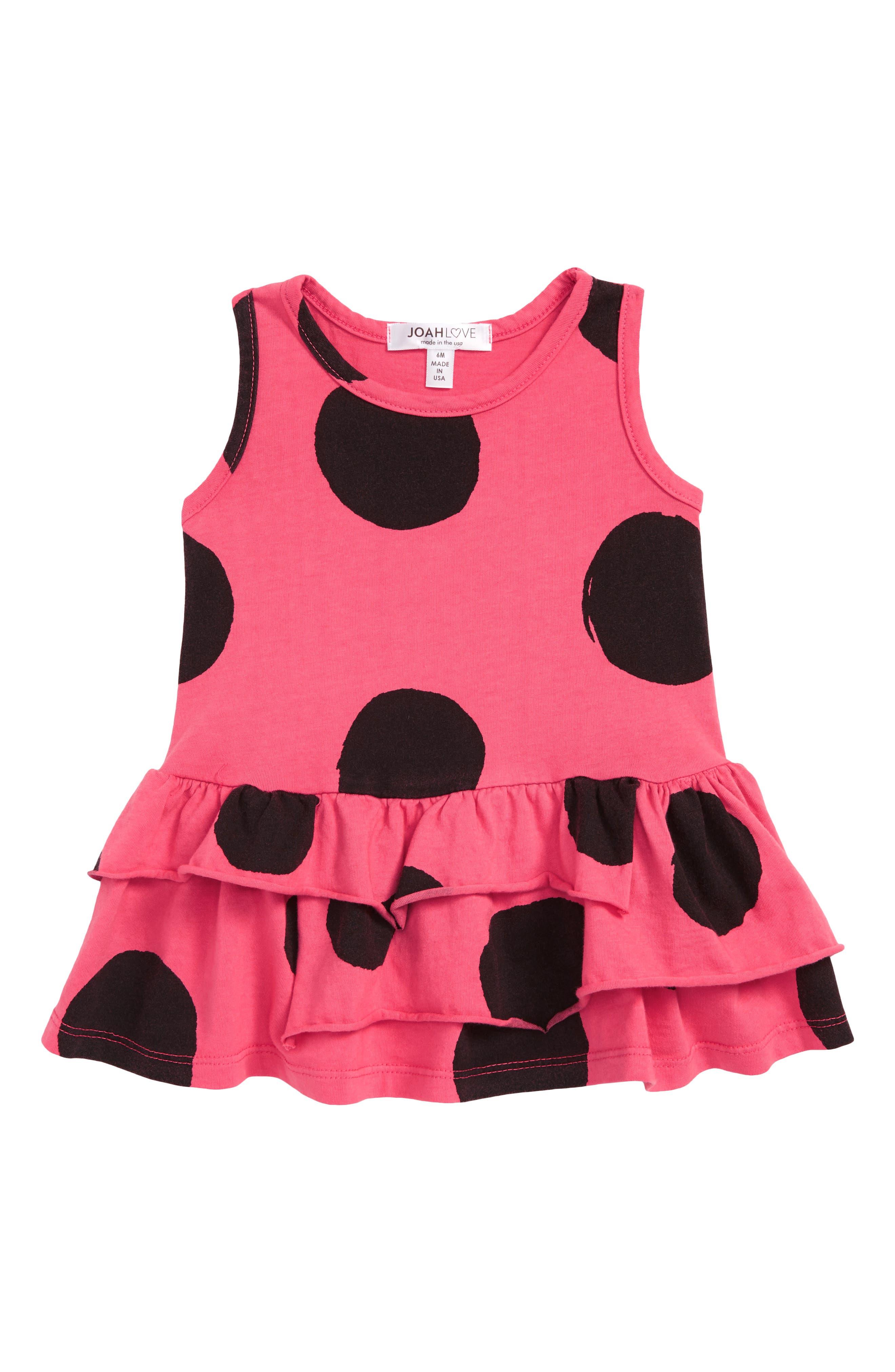 Polka Dot Ruffle Dress,                         Main,                         color, 650